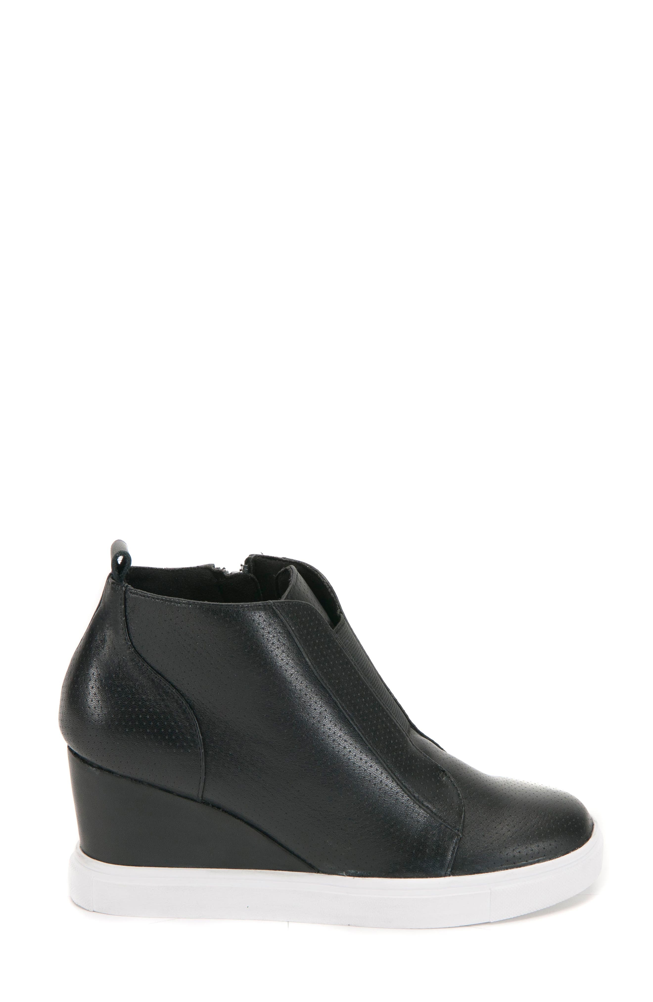 Gatsby Waterproof Wedge Bootie,                             Alternate thumbnail 3, color,                             BLACK LEATHER