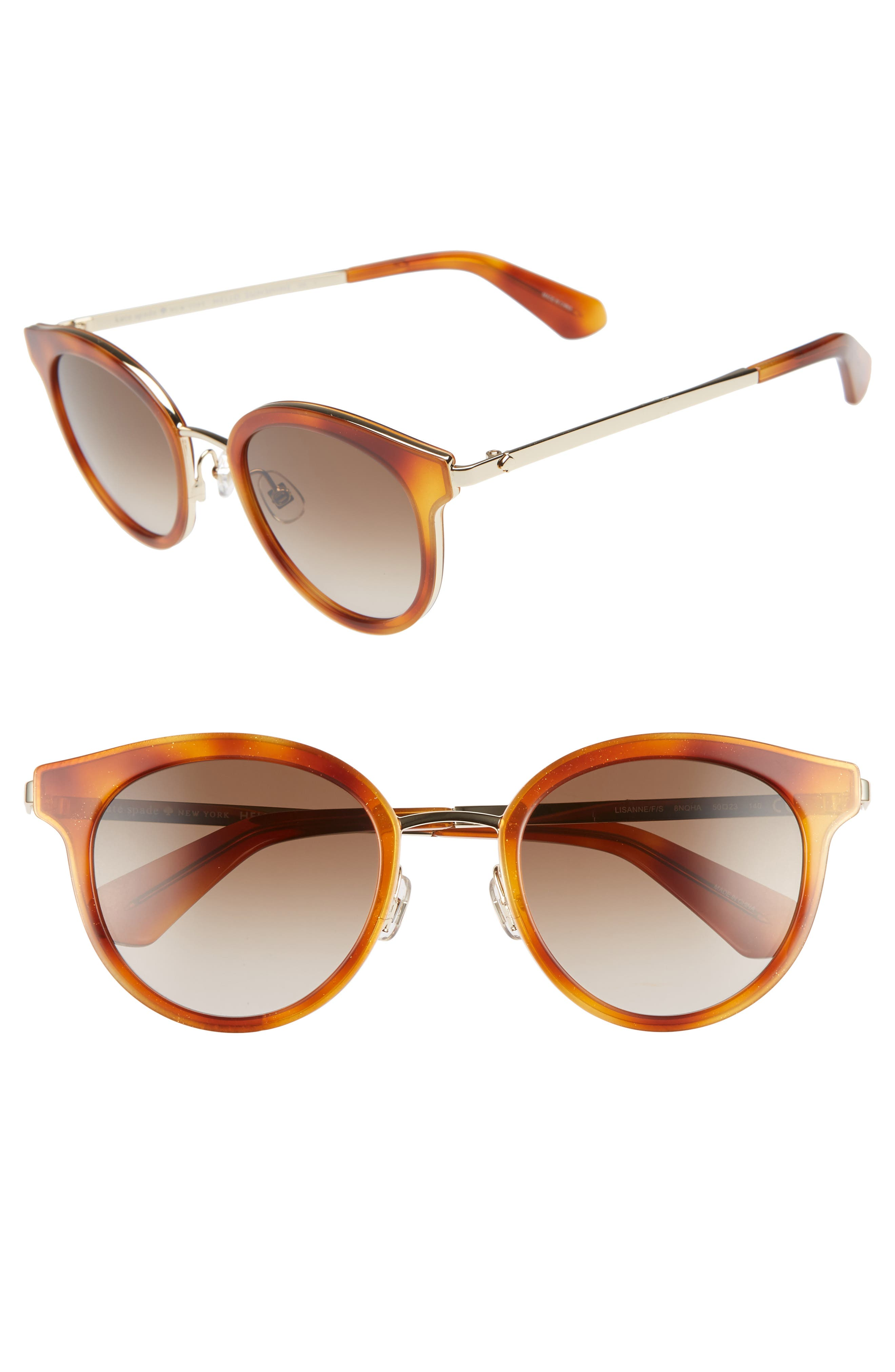 Lisanne 50Mm Special Fit Round Sunglasses - Dark Havana/ Gold