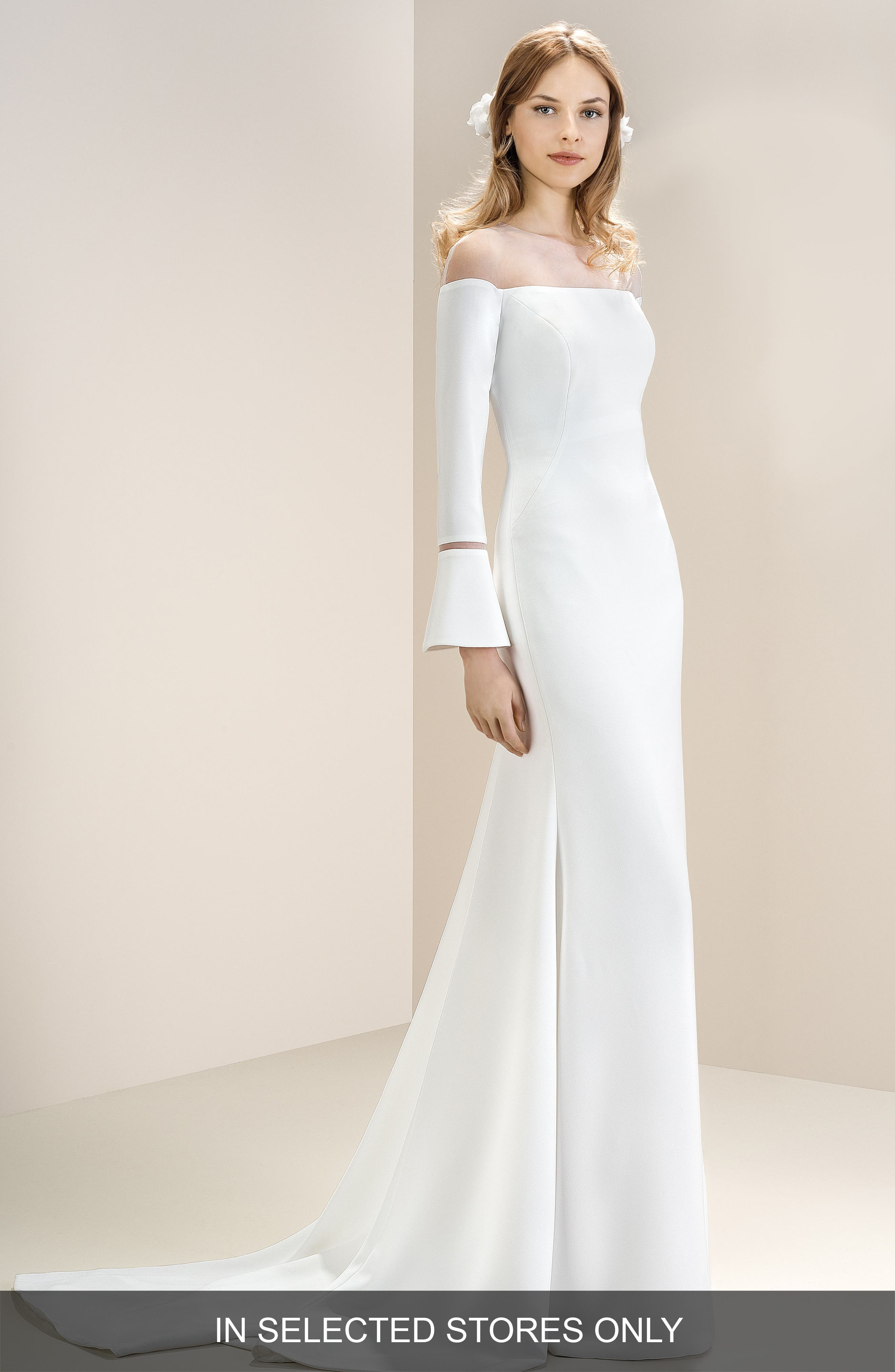 Off the Shoulder Illusion Neck Bell Sleeve Gown,                             Main thumbnail 1, color,                             OFF WHITE