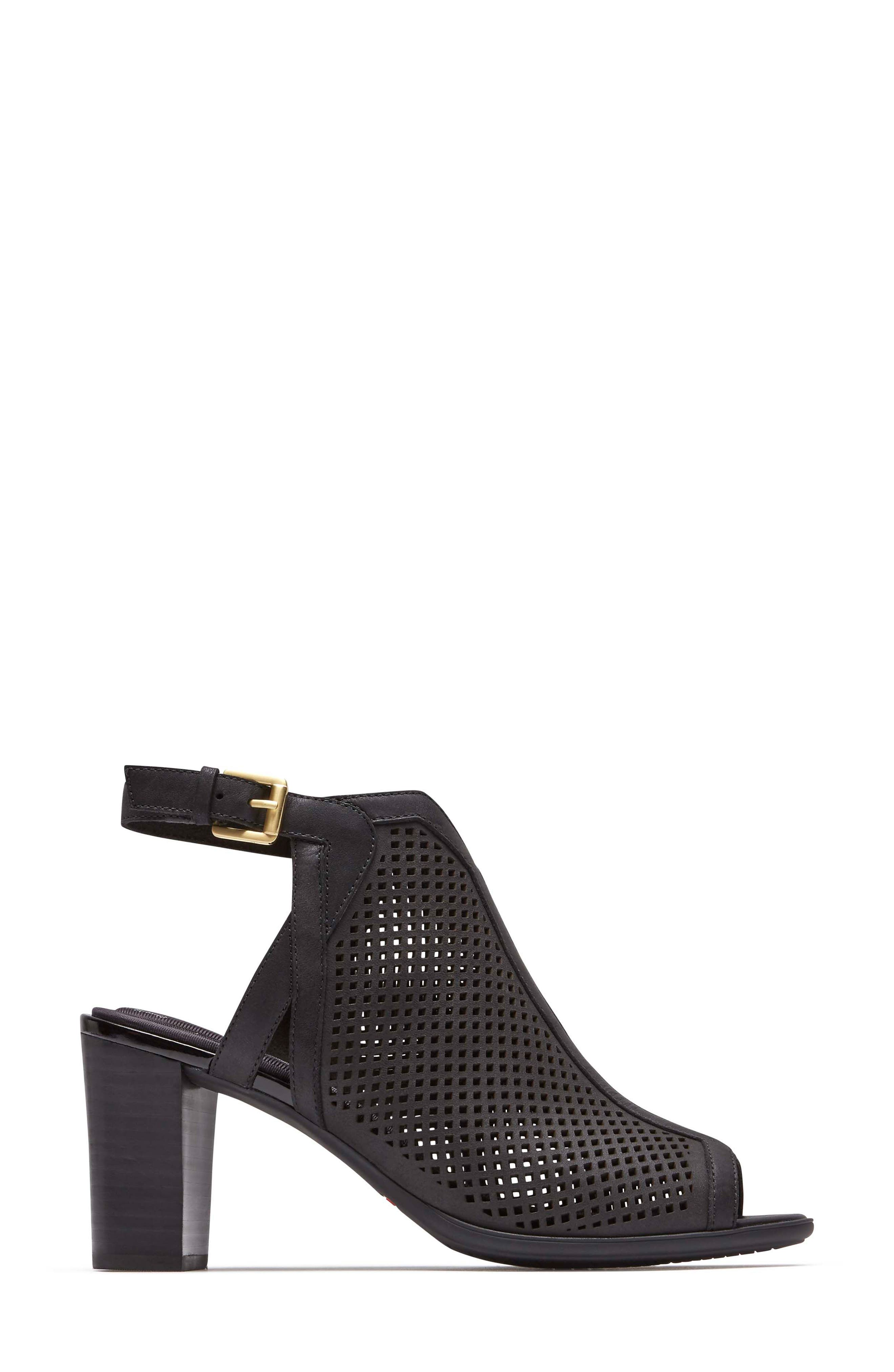 Total Motion Luxe Perforated Sandal,                             Alternate thumbnail 3, color,                             BLACK LEATHER