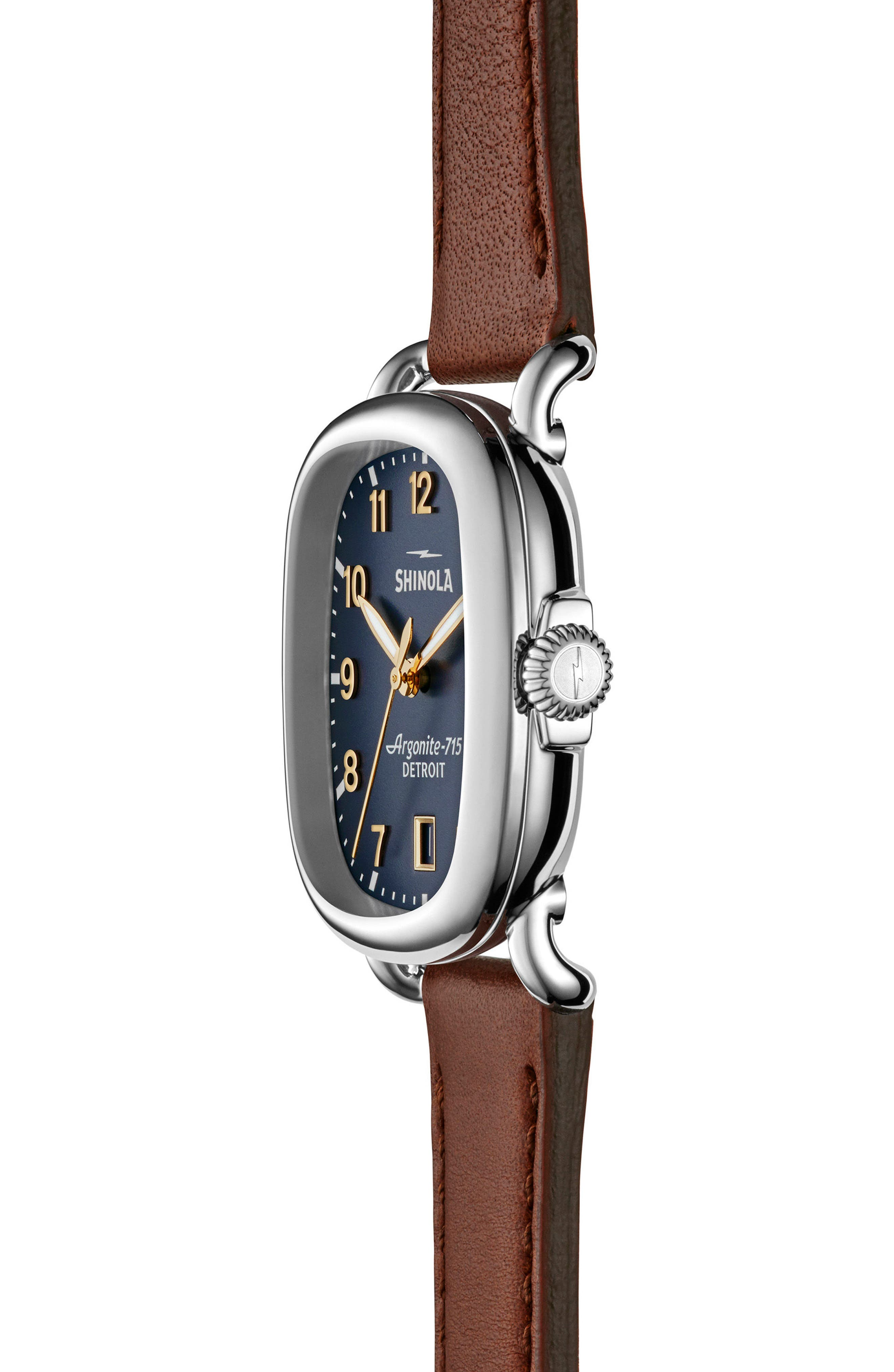 The Guardian Leather Strap Watch, 36mm,                             Alternate thumbnail 3, color,                             BROWN/ MDNGHTBLUE/ SILVER