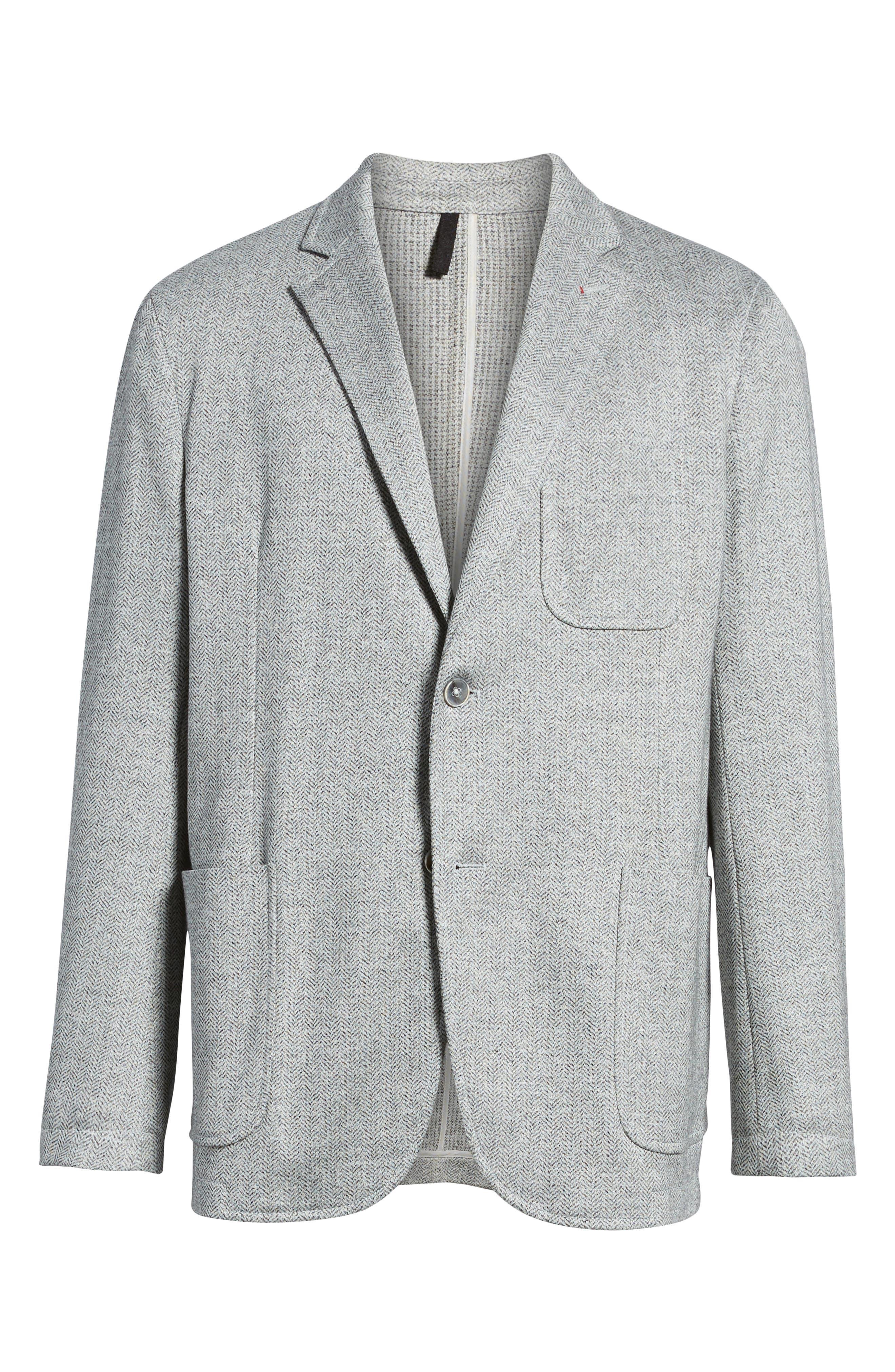 Regular Fit Herringbone Cotton & Linen Blazer,                             Alternate thumbnail 5, color,                             040