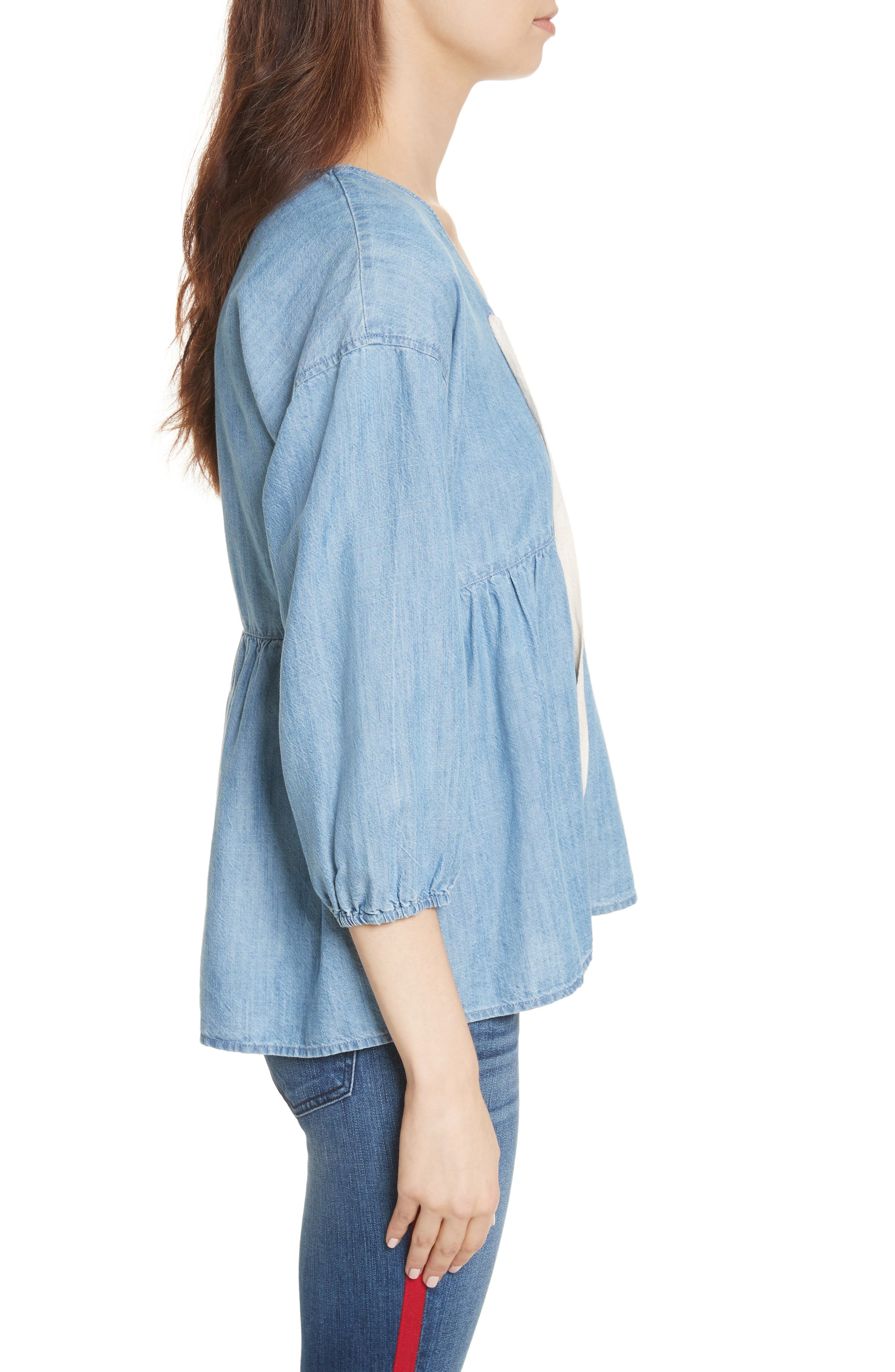 Bealette Lace-Up Chambray Top,                             Alternate thumbnail 3, color,                             481