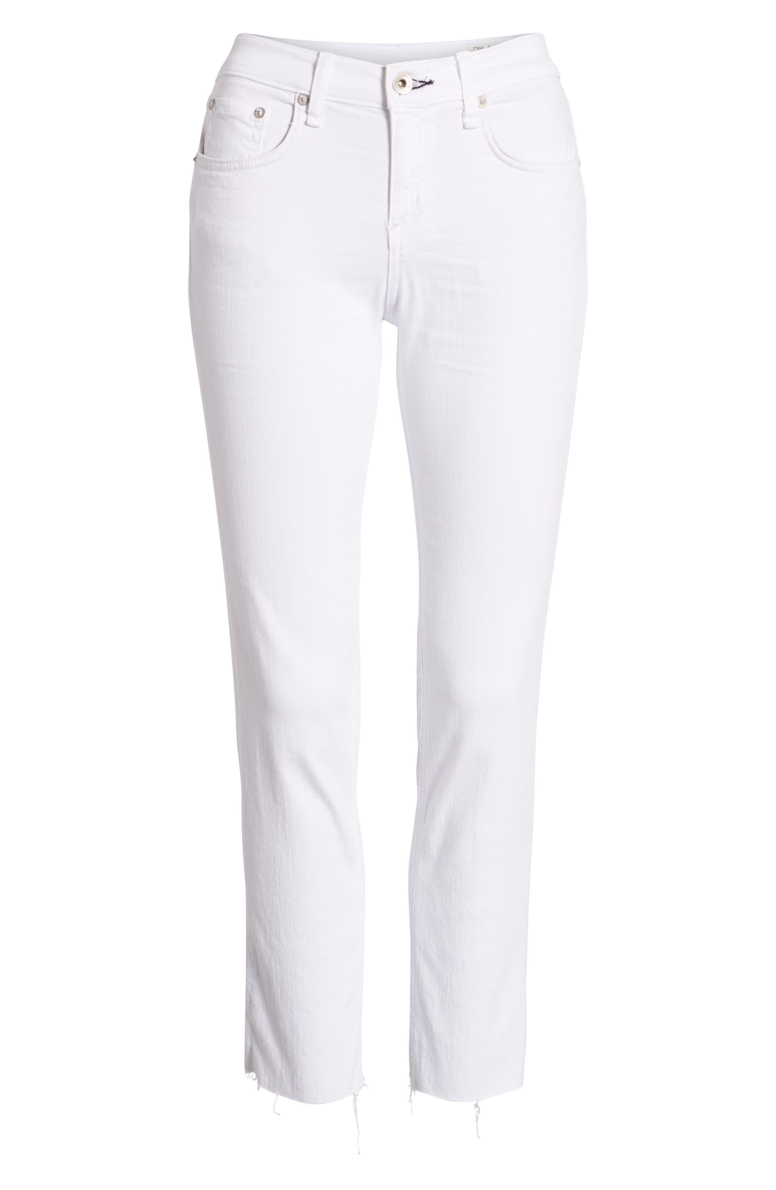 The Dre Ankle Slim Boyfriend Jeans,                             Alternate thumbnail 7, color,                             WHITE