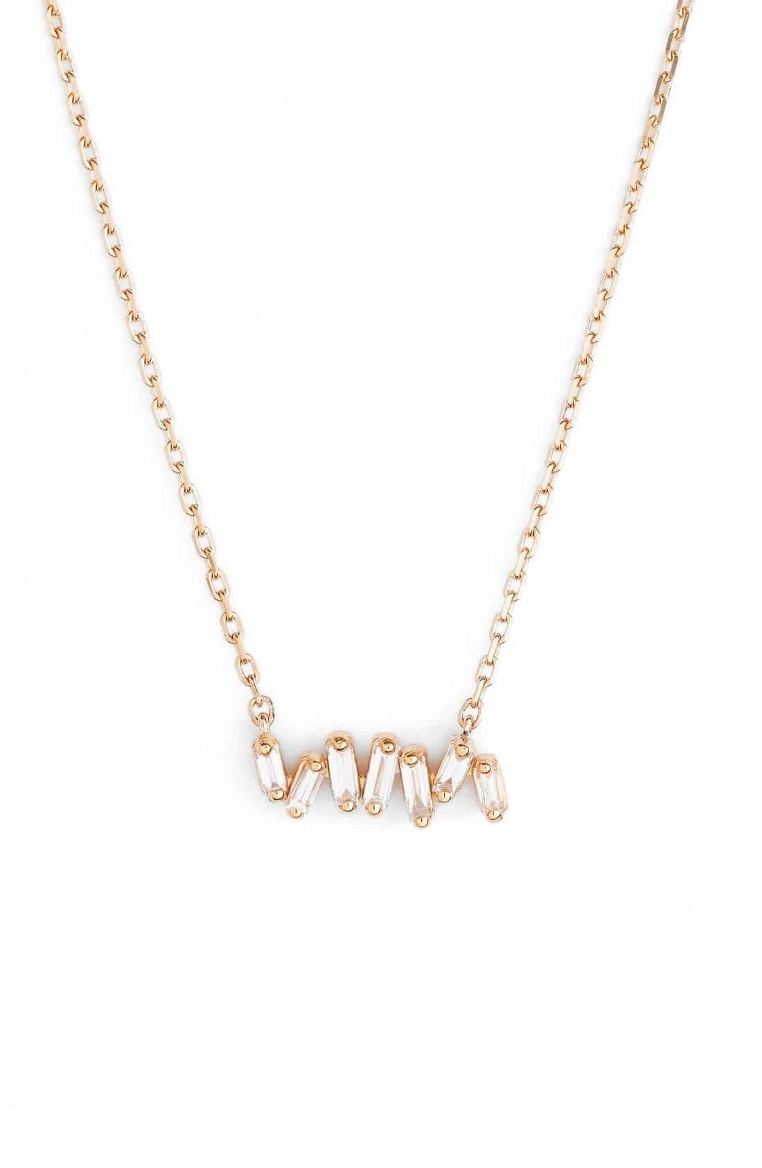 'Fireworks' Diamond Baguette Mini Bar Pendant Necklace,                         Main,                         color, 710