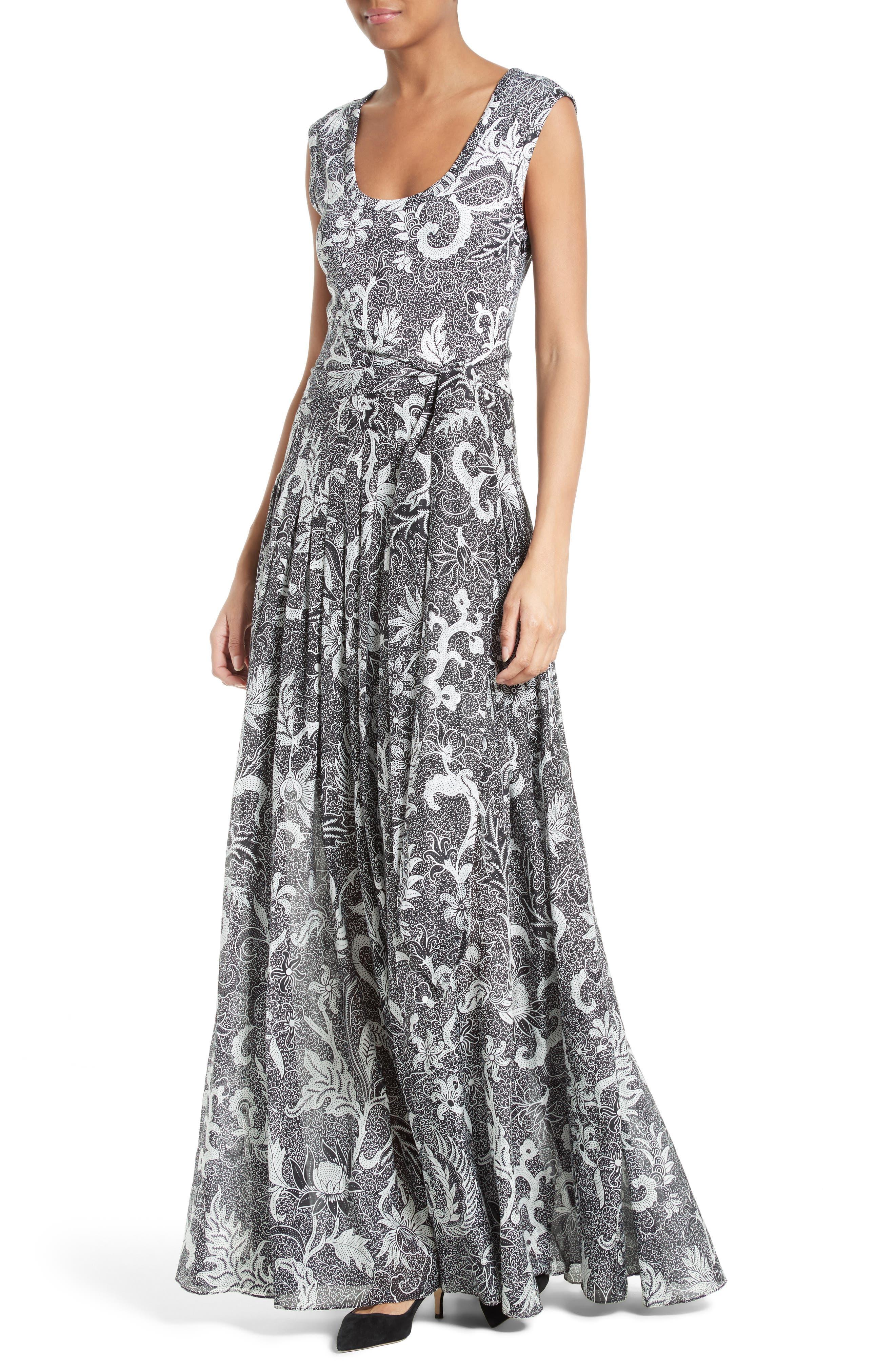 Cotton & Silk Maxi Dress,                             Alternate thumbnail 4, color,
