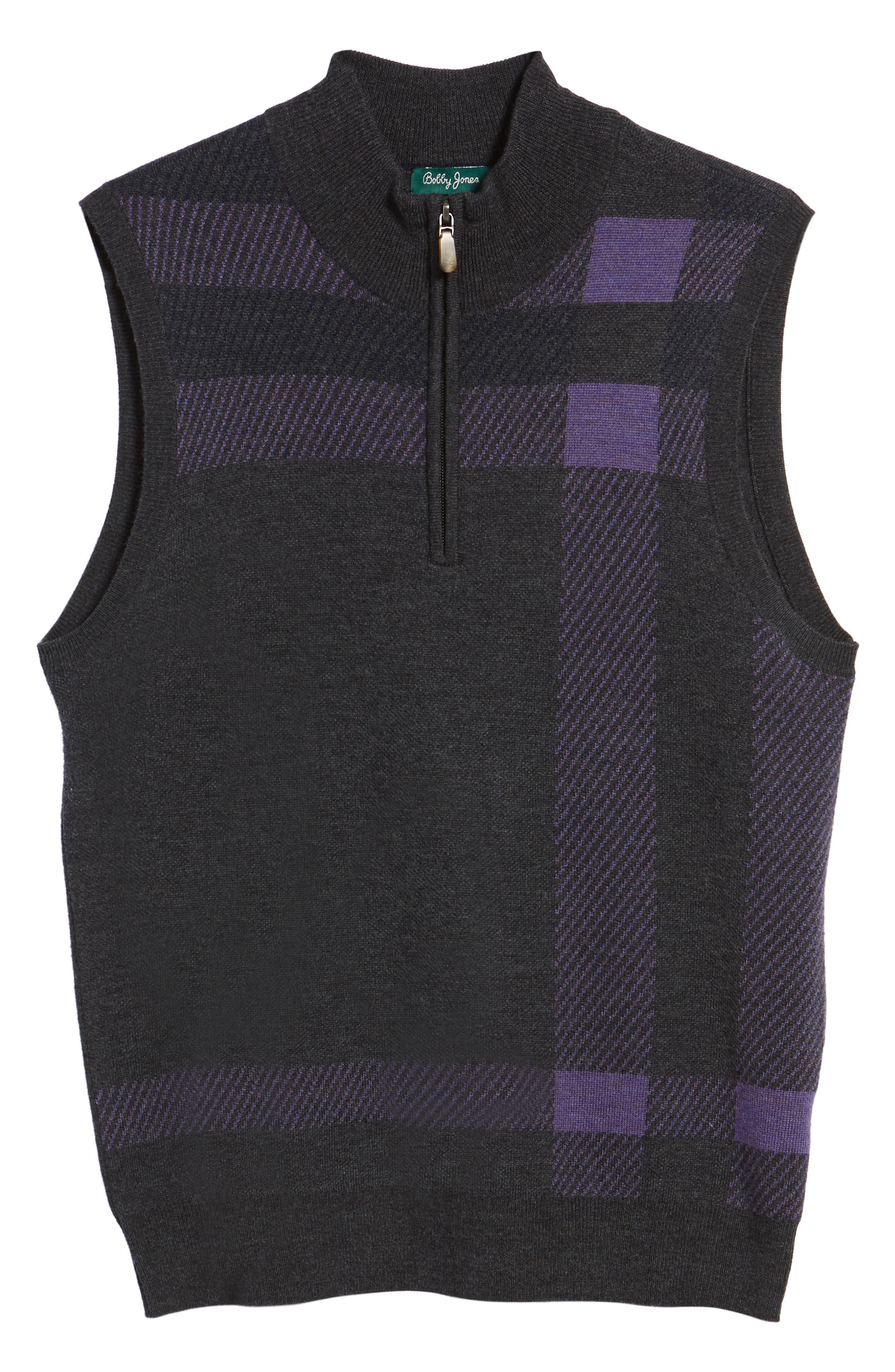 Oversize Plaid Wool Vest,                             Alternate thumbnail 6, color,                             078