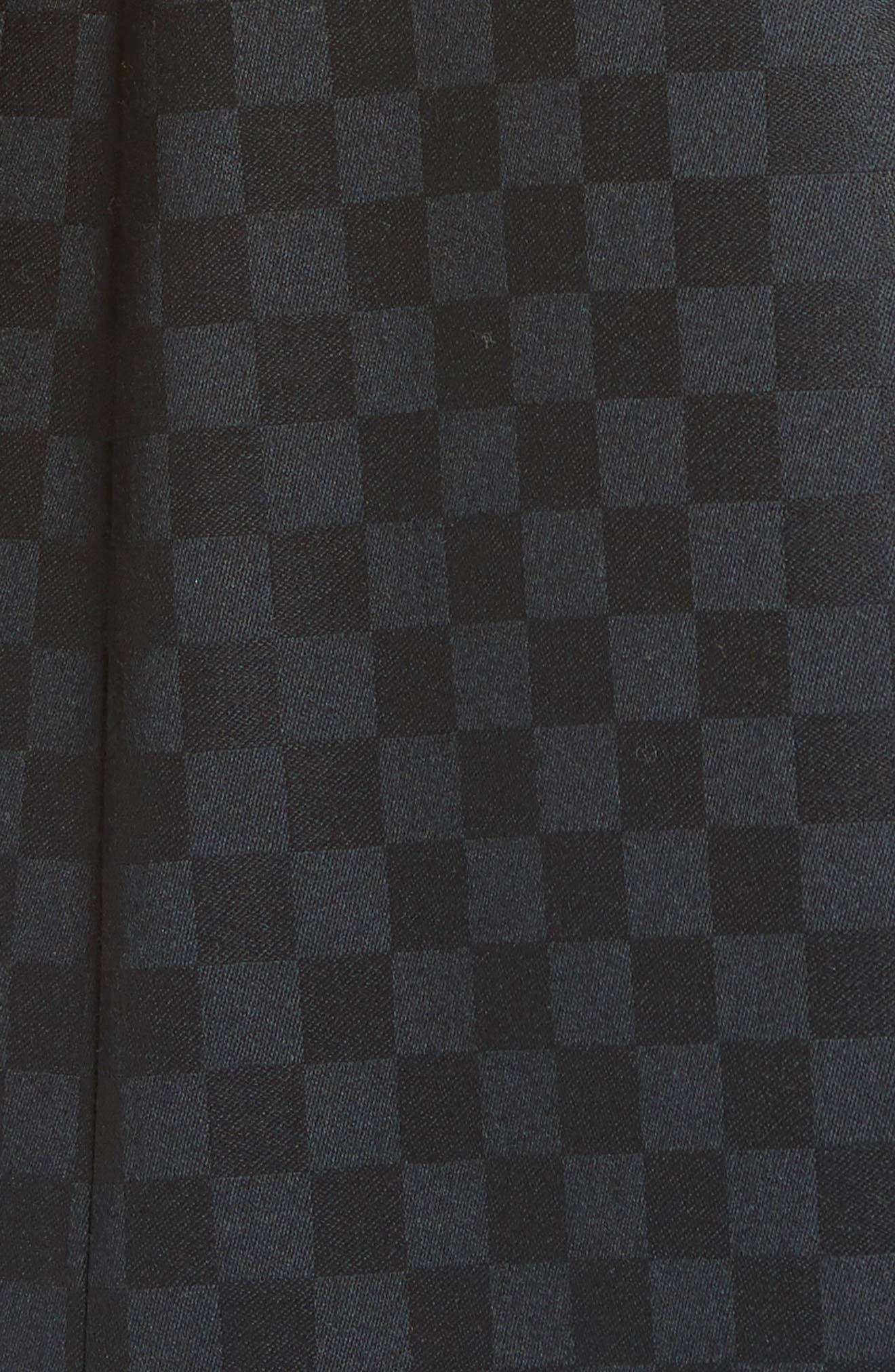 Chain Trim Checkerboard Wool Blazer,                             Alternate thumbnail 6, color,                             001