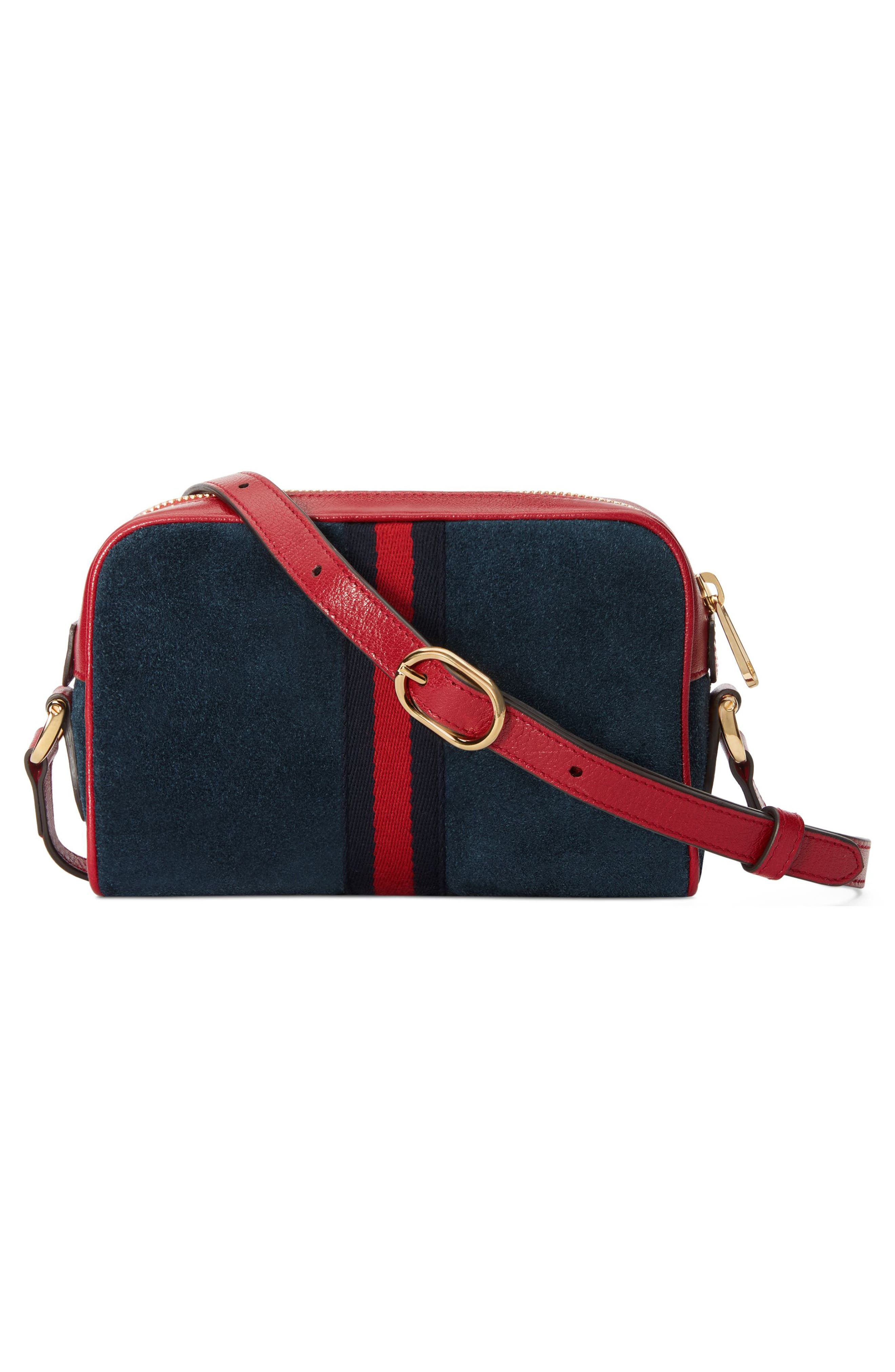 Ophidia Small Suede & Leather Crossbody Bag,                             Alternate thumbnail 2, color,                             NEW BLU/ ROMANATIC CERISE