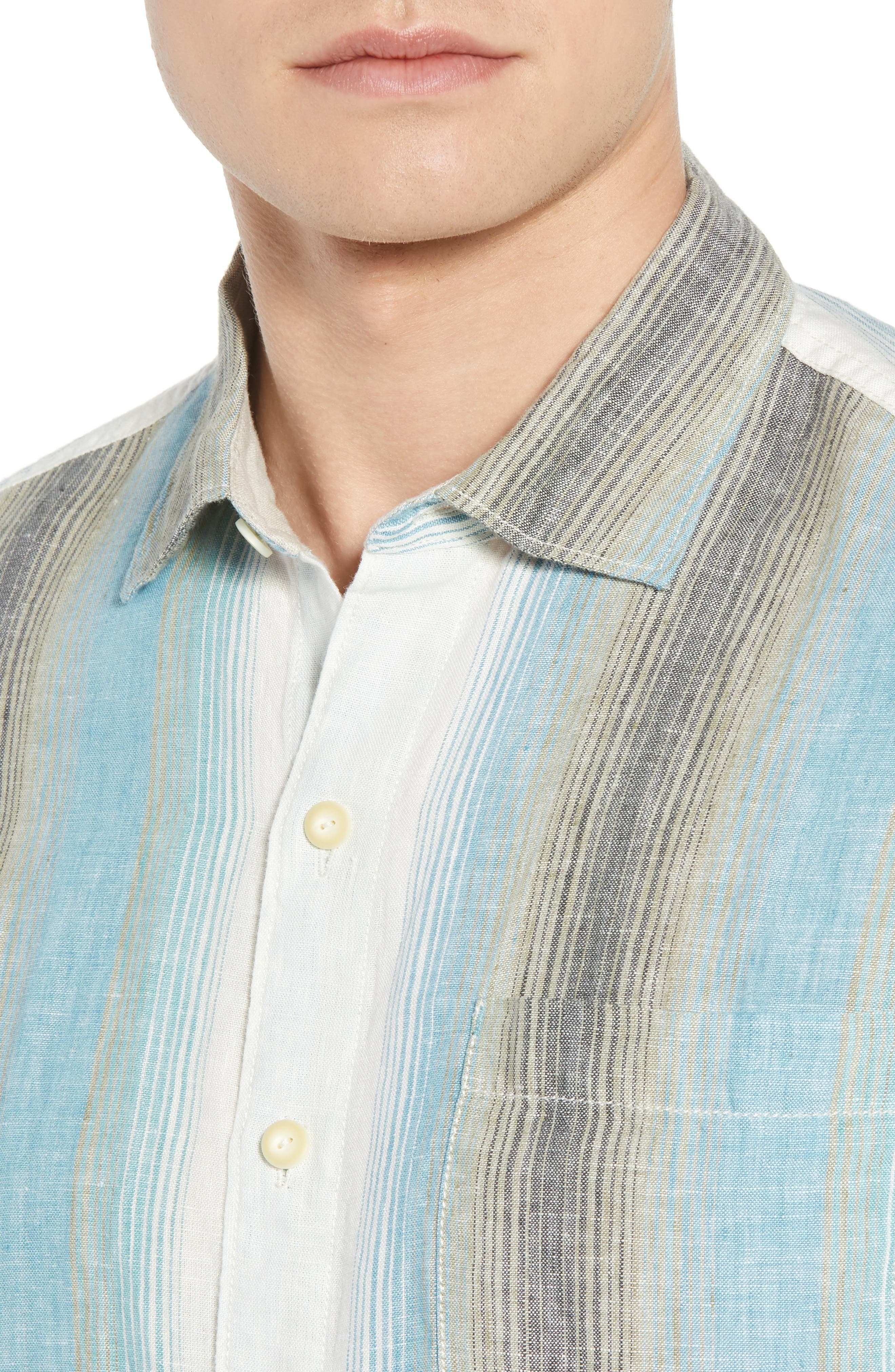 Sanchez Stripe Linen Sport Shirt,                             Alternate thumbnail 4, color,                             VOYAGER BLUE