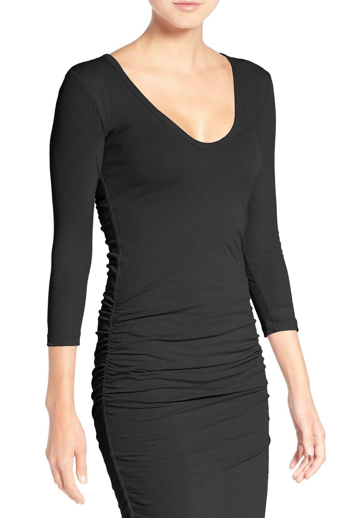 V-Neck Ruched Dress,                             Alternate thumbnail 5, color,                             001