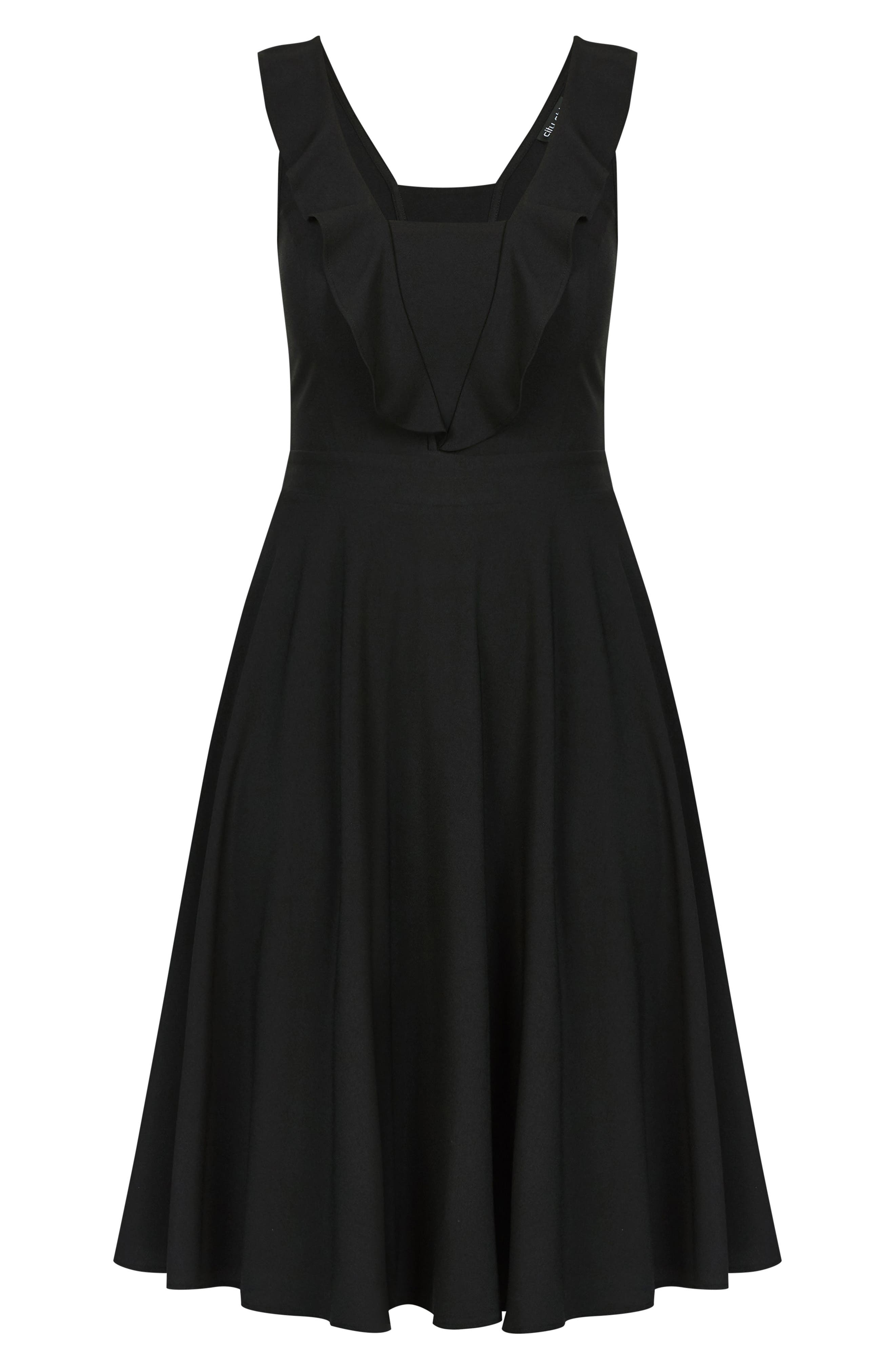 Flirty Flutter A-Line Dress,                             Alternate thumbnail 3, color,                             BLACK