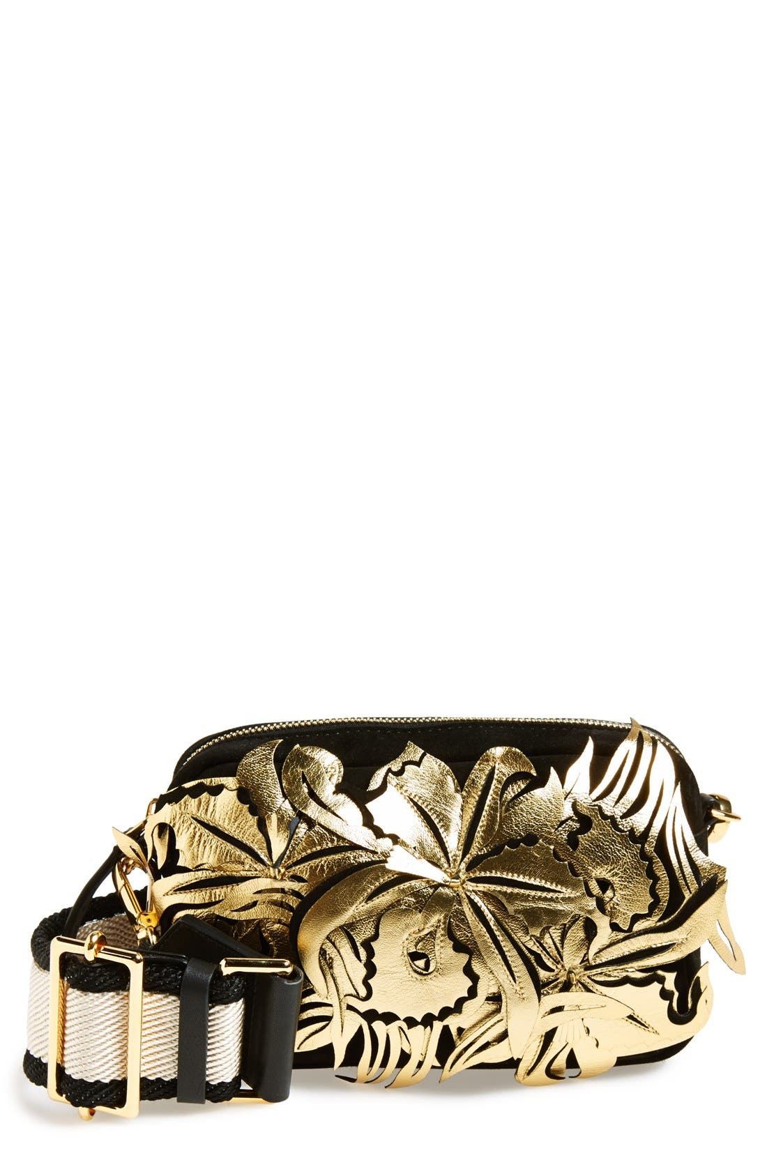 Floral Suede & Leather Fanny Pack,                         Main,                         color, 001