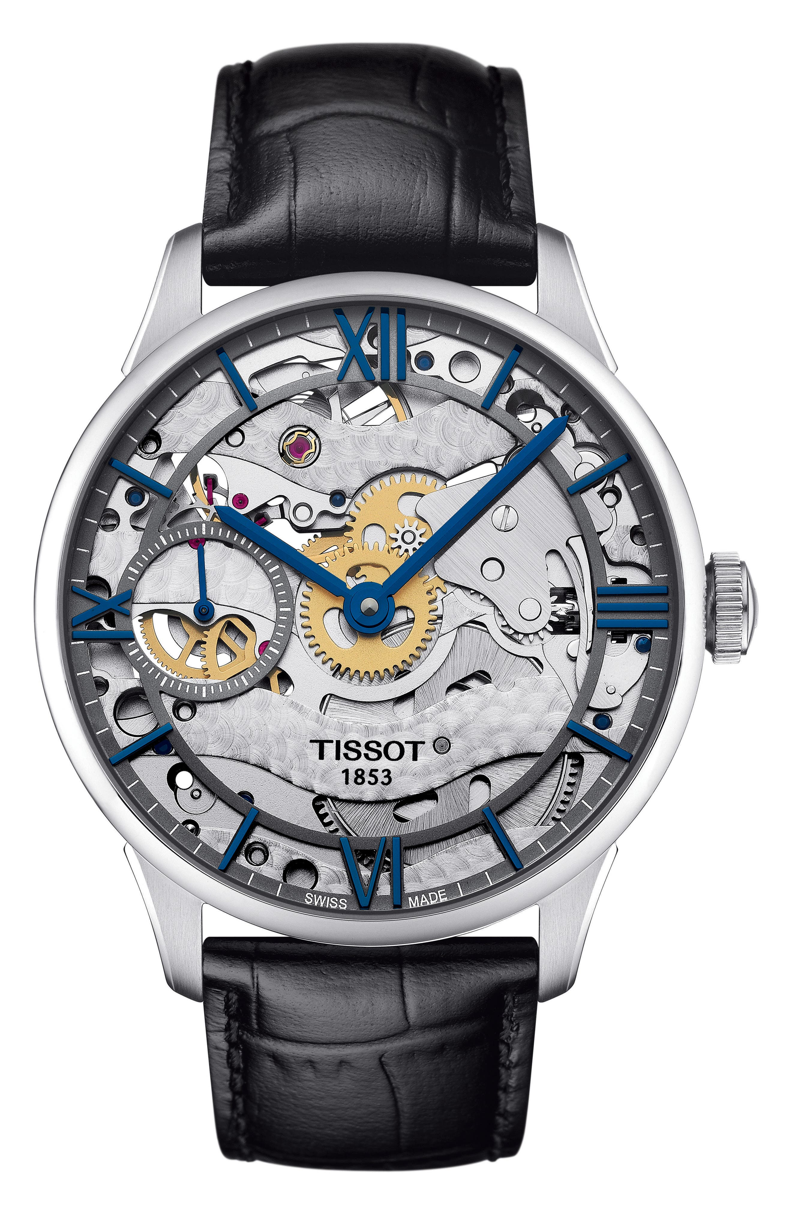 T-Complication Squellette Mechanical Watch, 42mm,                             Main thumbnail 1, color,                             BLACK/ SILVER