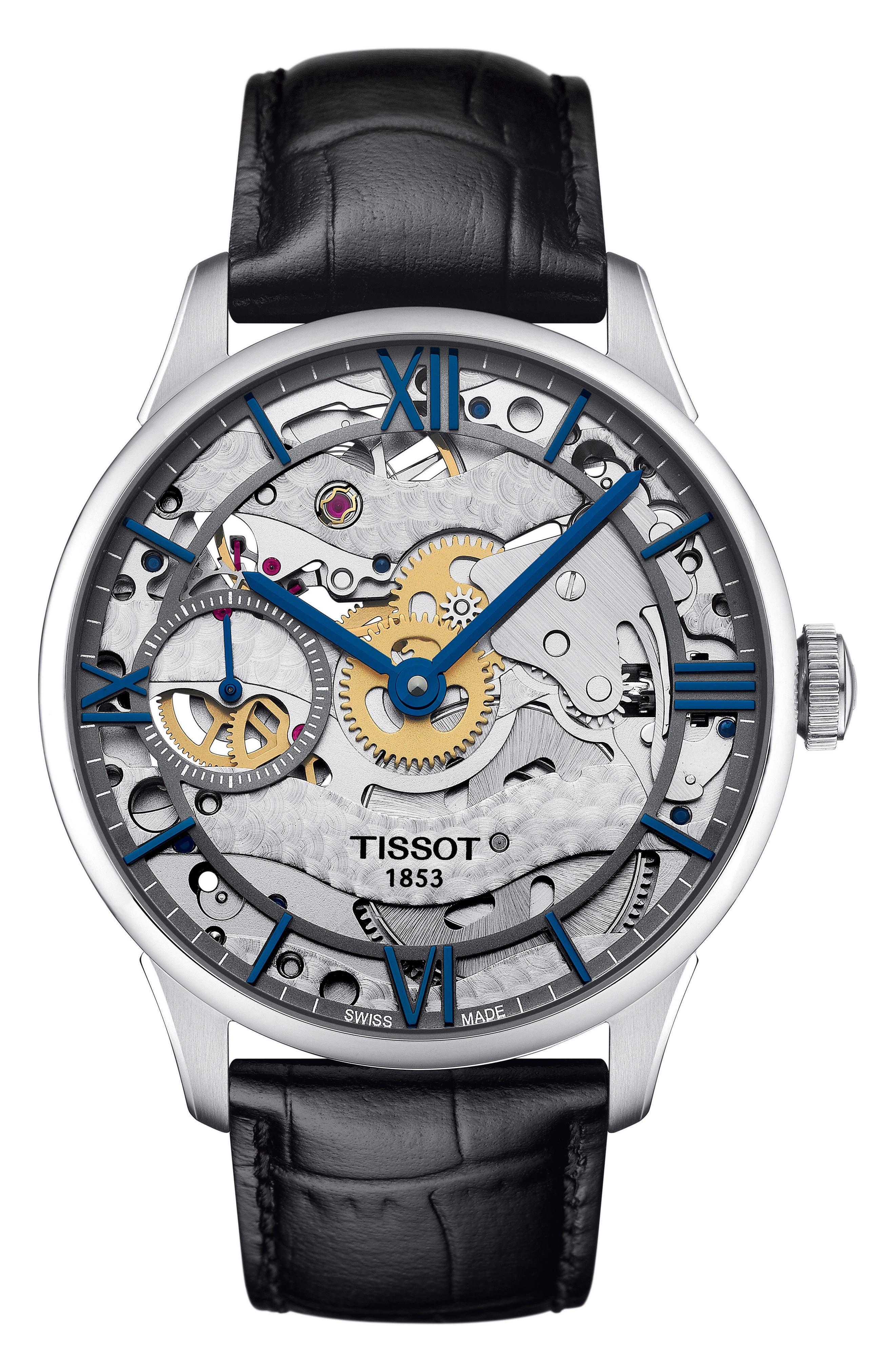 T-Complication Squellette Mechanical Watch, 42mm,                         Main,                         color, BLACK/ SILVER