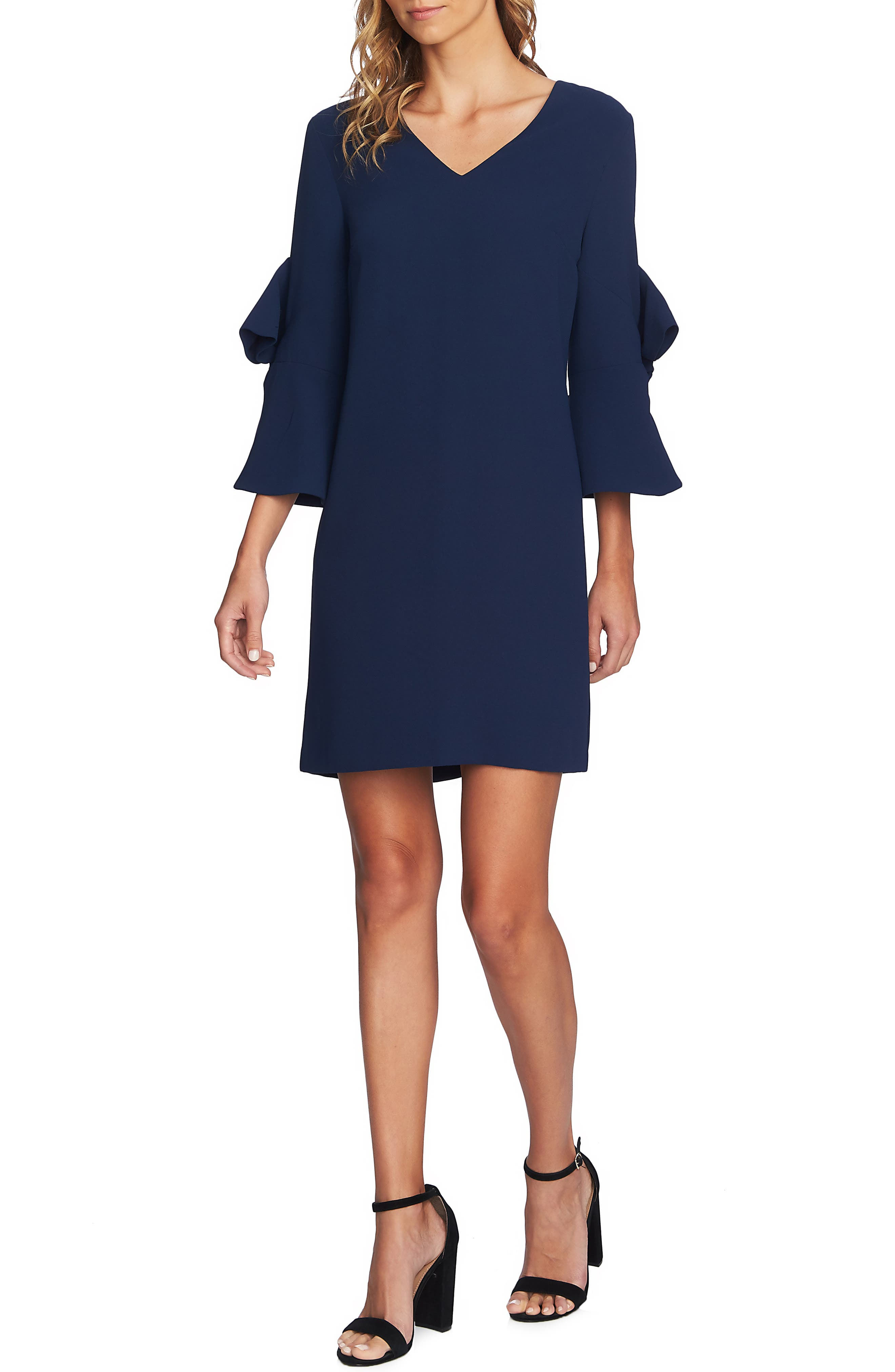 Cece Moss Crepe Bow Shift Dress, Blue
