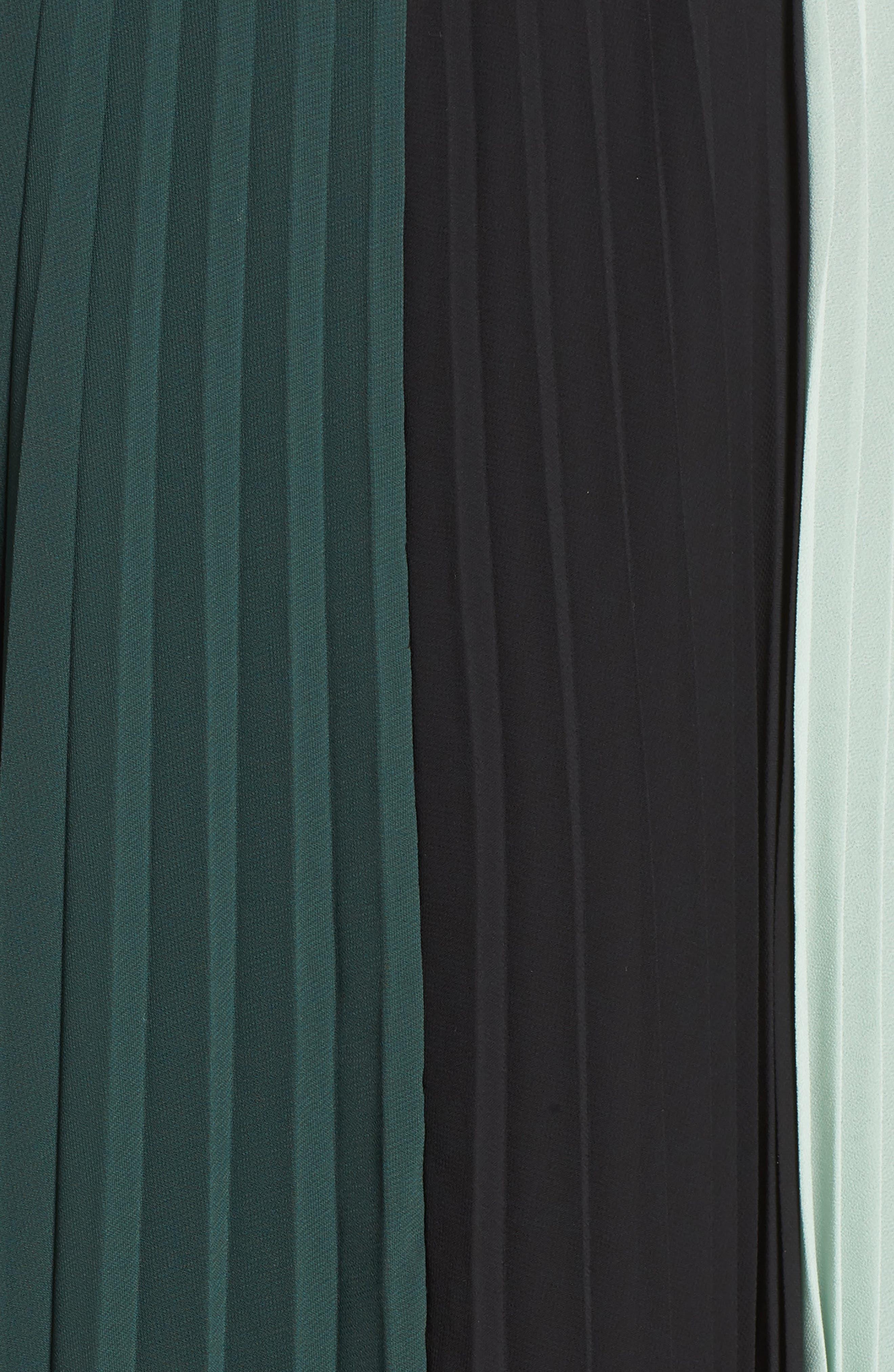 x Atlantic-Pacific Colorblock Pleated Midi Skirt,                             Alternate thumbnail 5, color,                             GREEN- BLACK COLORBLOCK