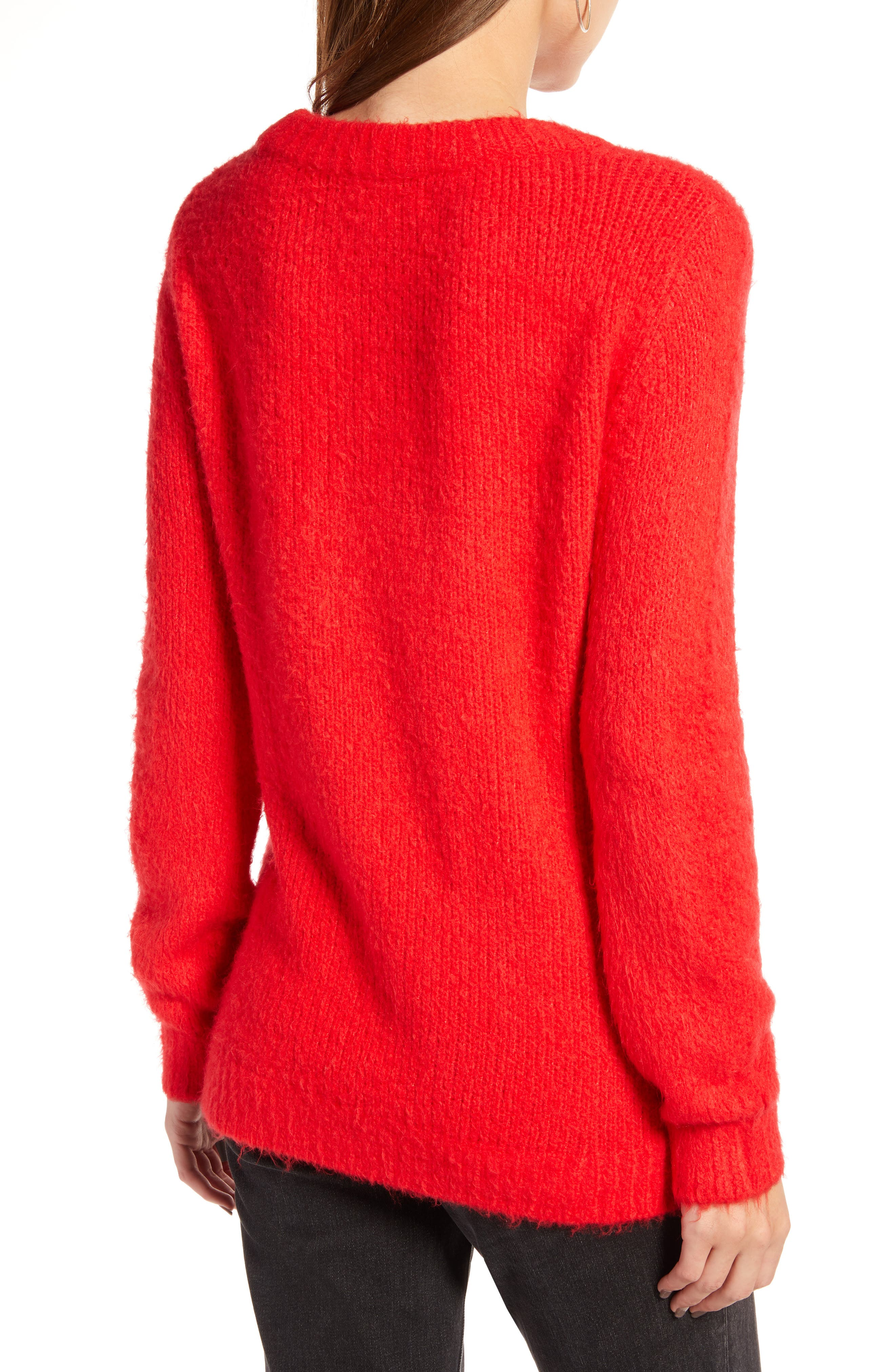 Crewneck Sweater,                             Alternate thumbnail 2, color,                             RED CHINOISE