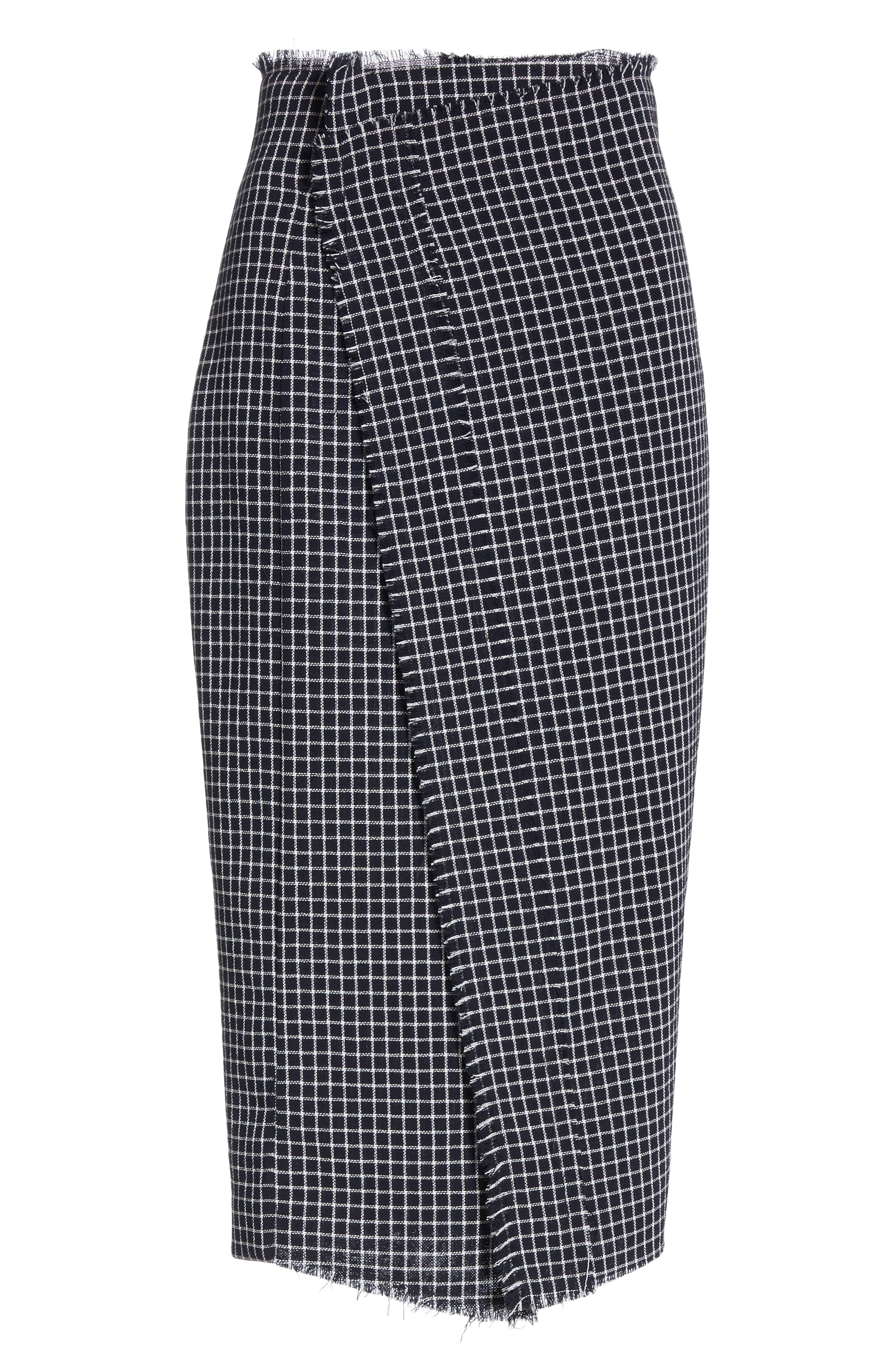 JASON WU COLLECTION,                             Wool Check Skirt,                             Alternate thumbnail 6, color,                             001