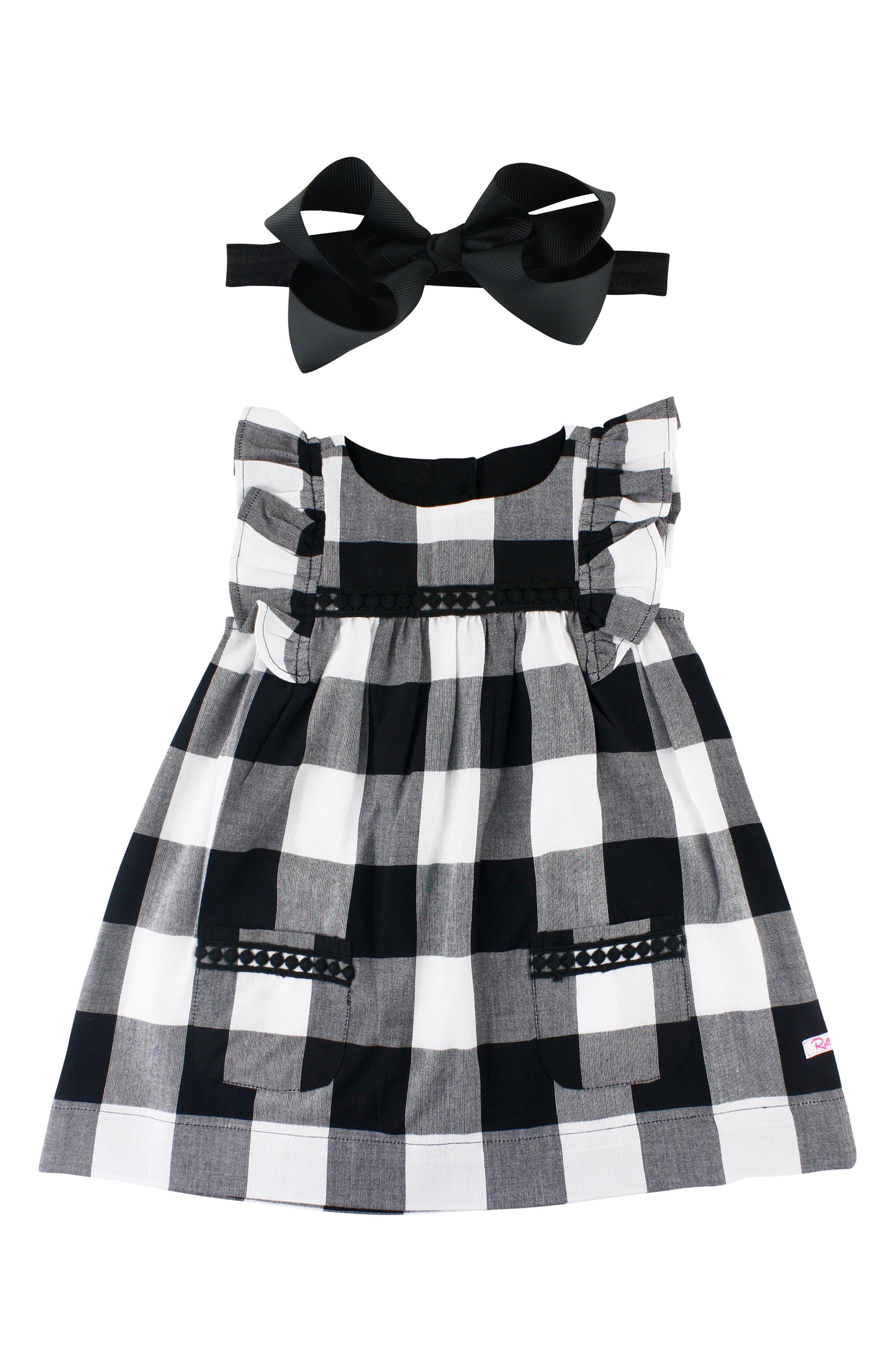 Check Flutter Sleeve Dress & Bow Head Wrap Set,                             Main thumbnail 1, color,                             001