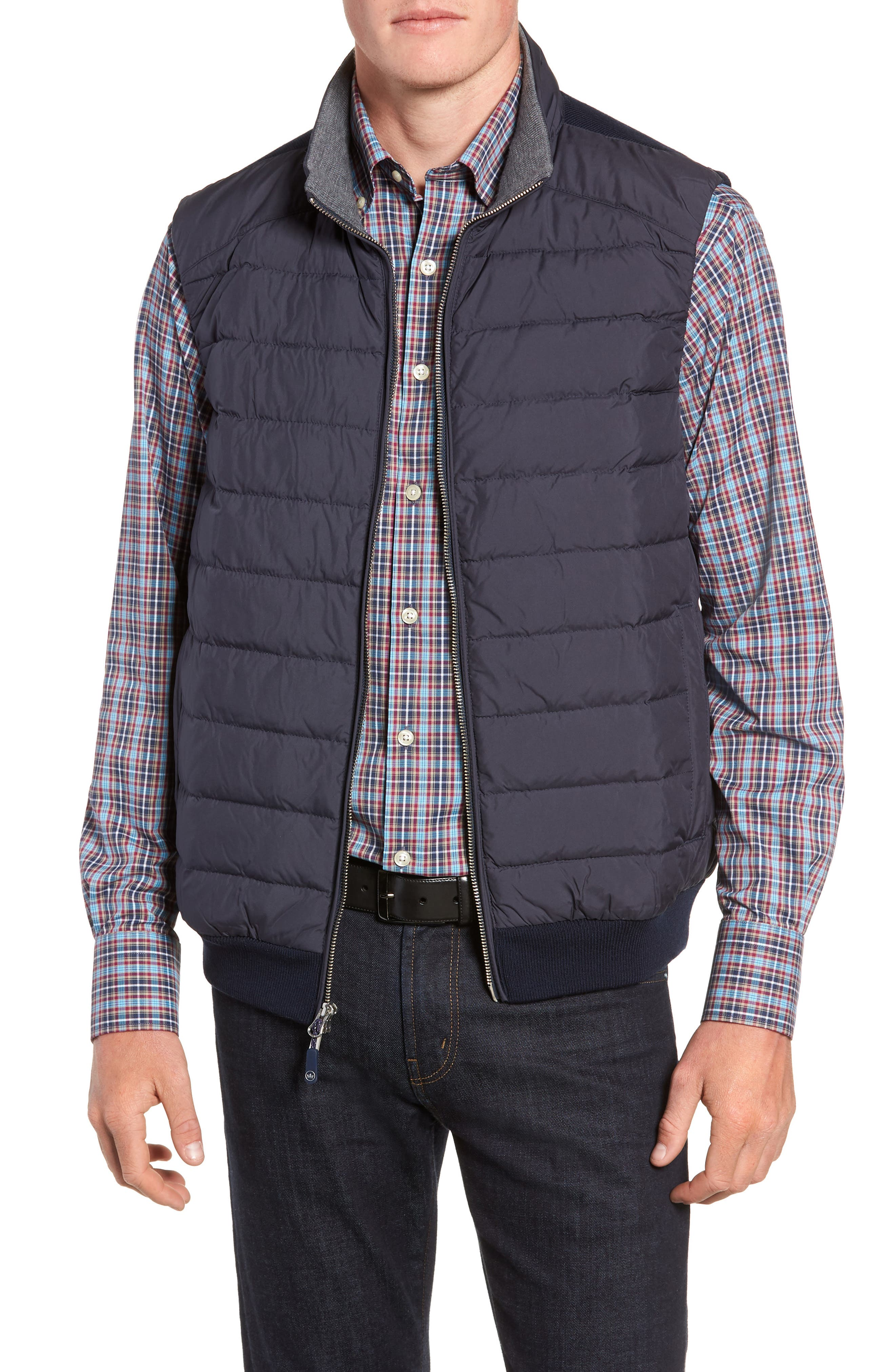 Crown Elite Channel Quilted Hybrid Vest,                             Main thumbnail 1, color,                             NAVY