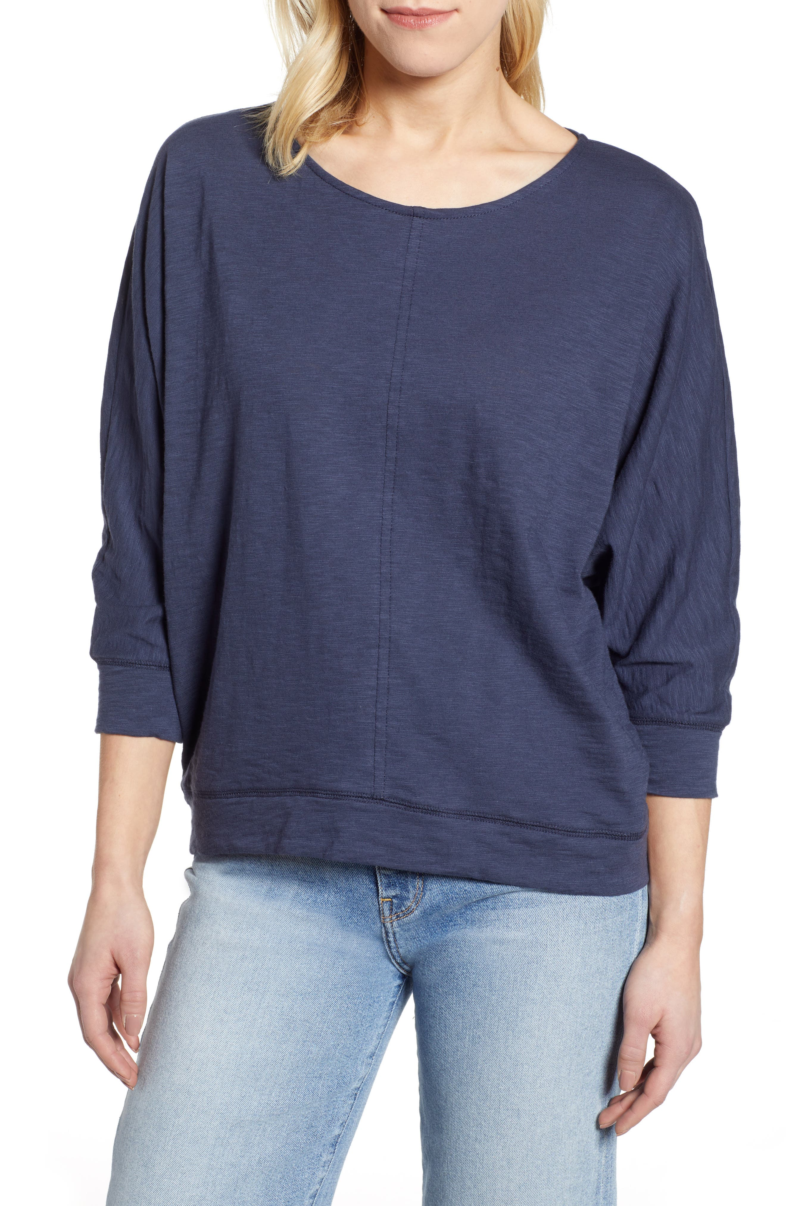 CASLON<SUP>®</SUP>,                             Off-Duty Dolman Sleeve Tee,                             Main thumbnail 1, color,                             NAVY PEACOAT