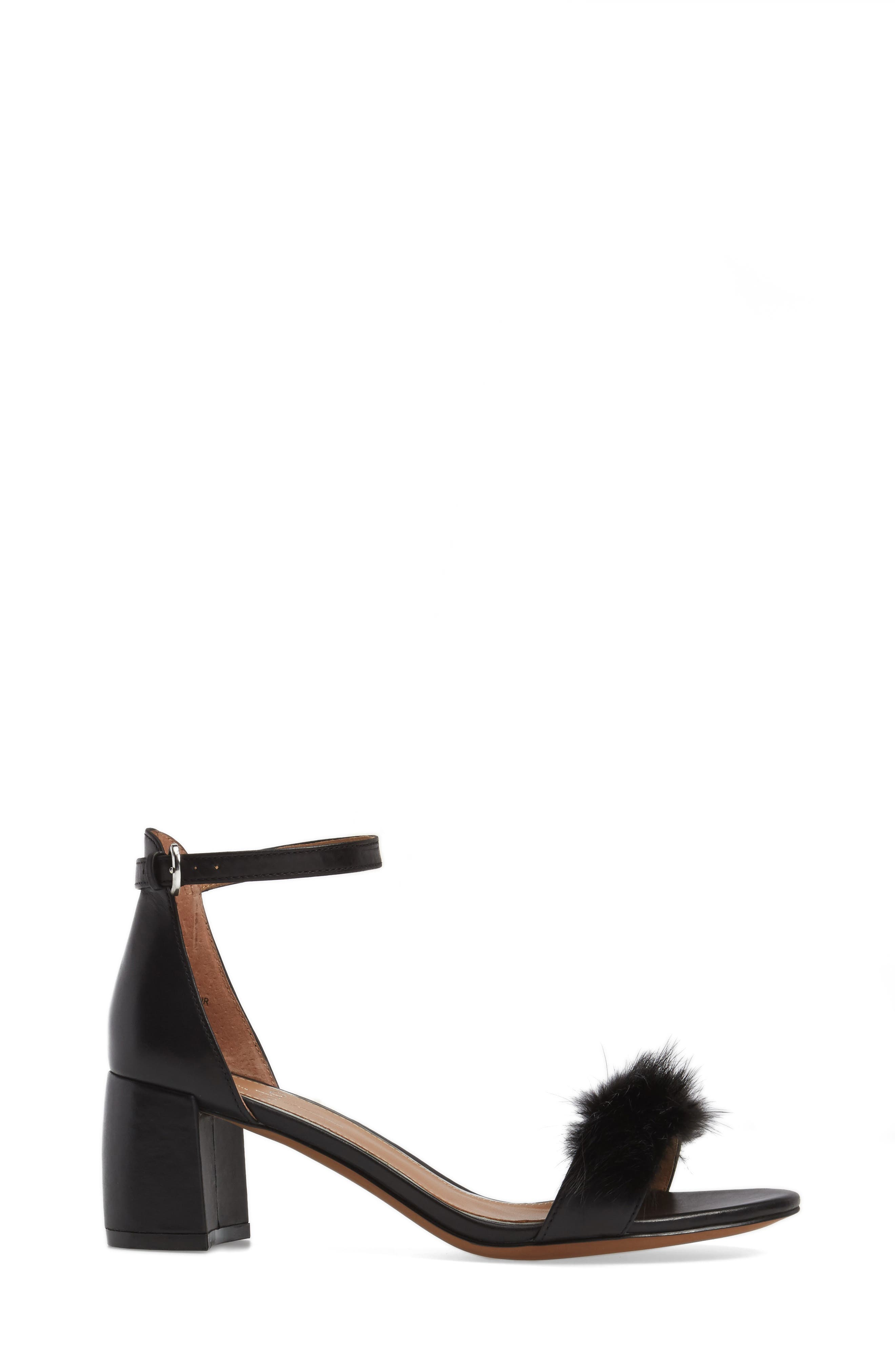 Hepburn Genuine Mink Fur Sandal,                             Alternate thumbnail 3, color,                             008
