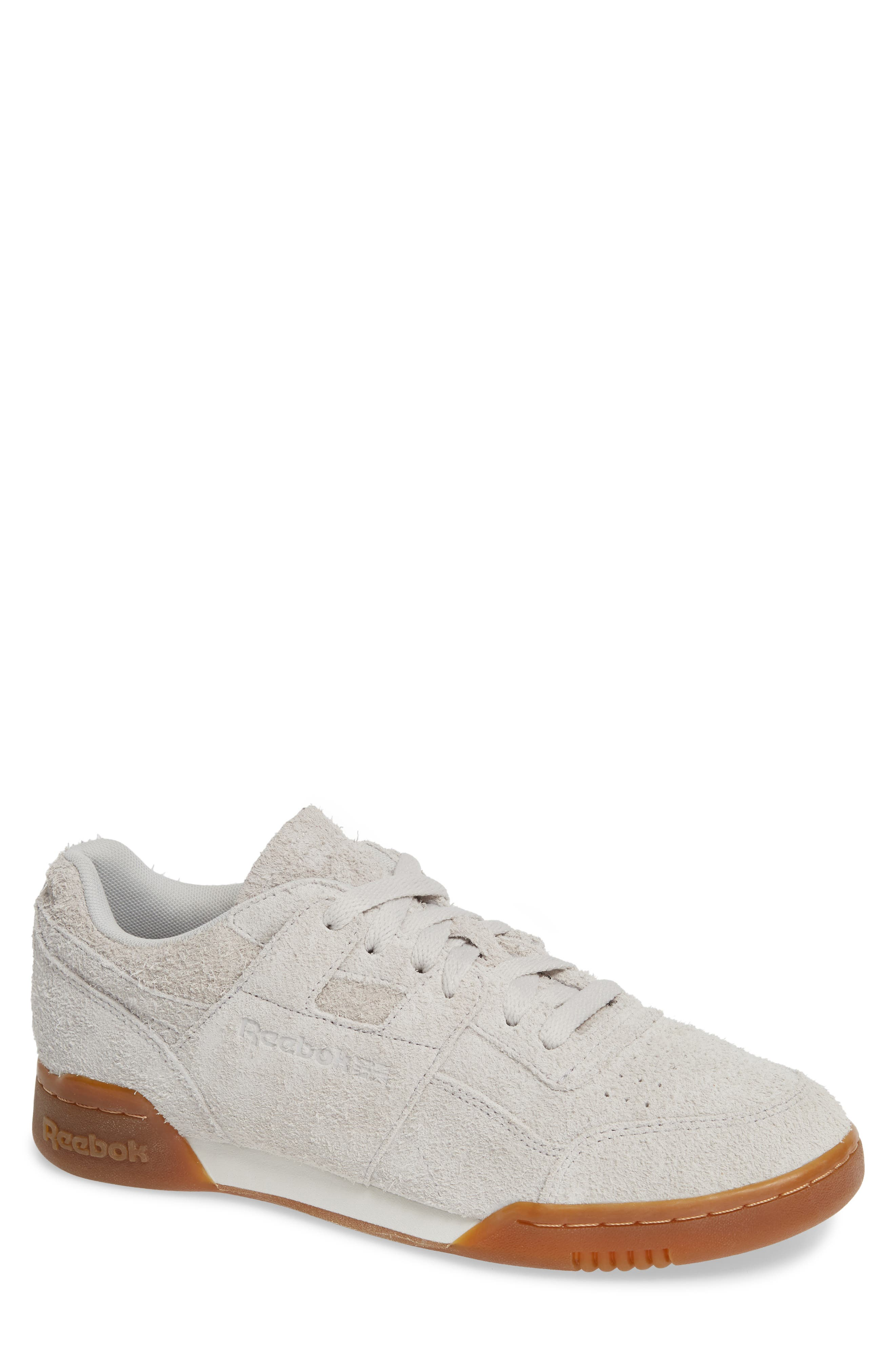 Men'S Workout Plus Suede Low-Top Sneakers in Grey/ White/ Gum