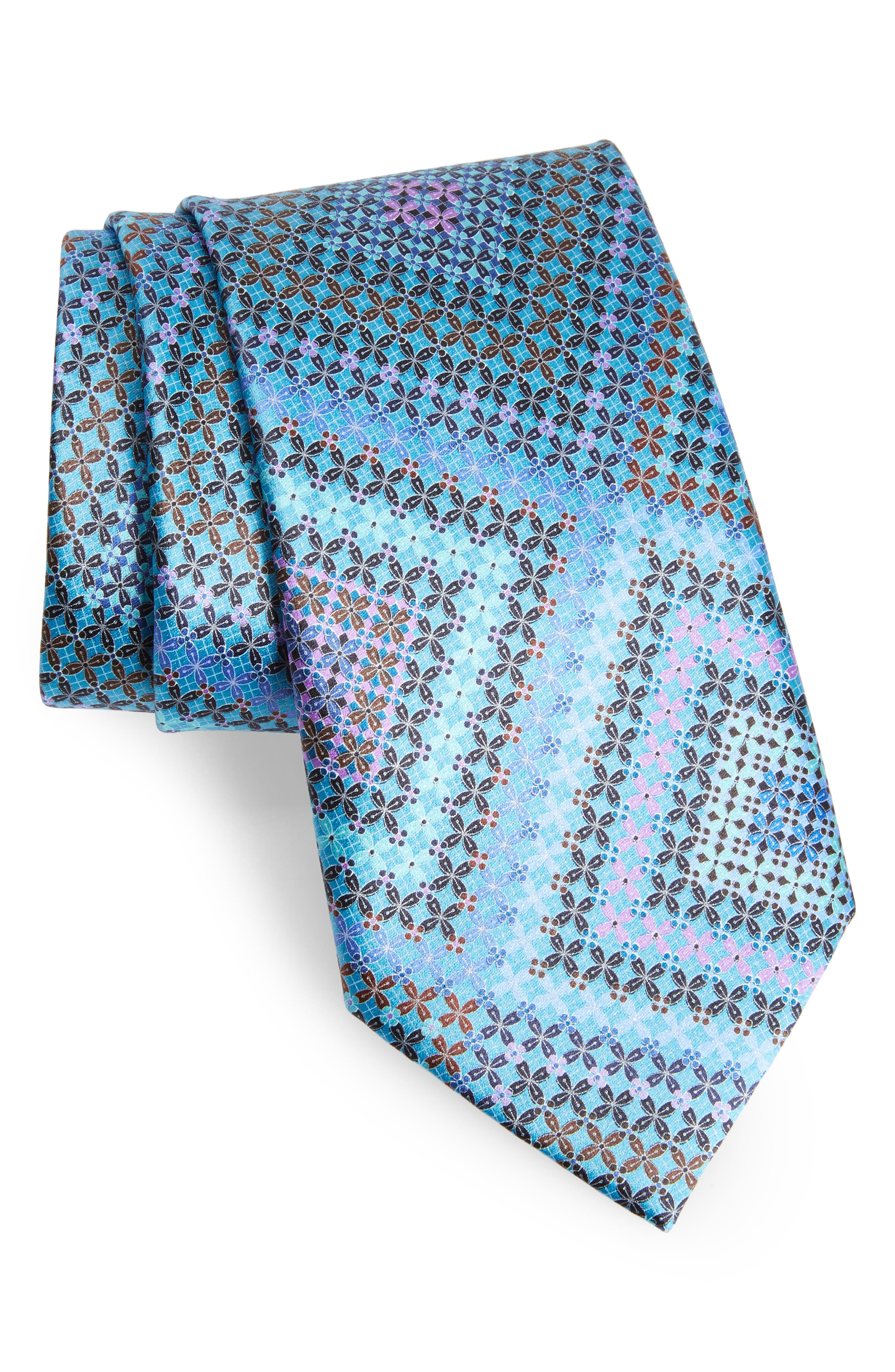 Quindici + Quindici Medallion Silk Tie,                         Main,                         color, BLACK