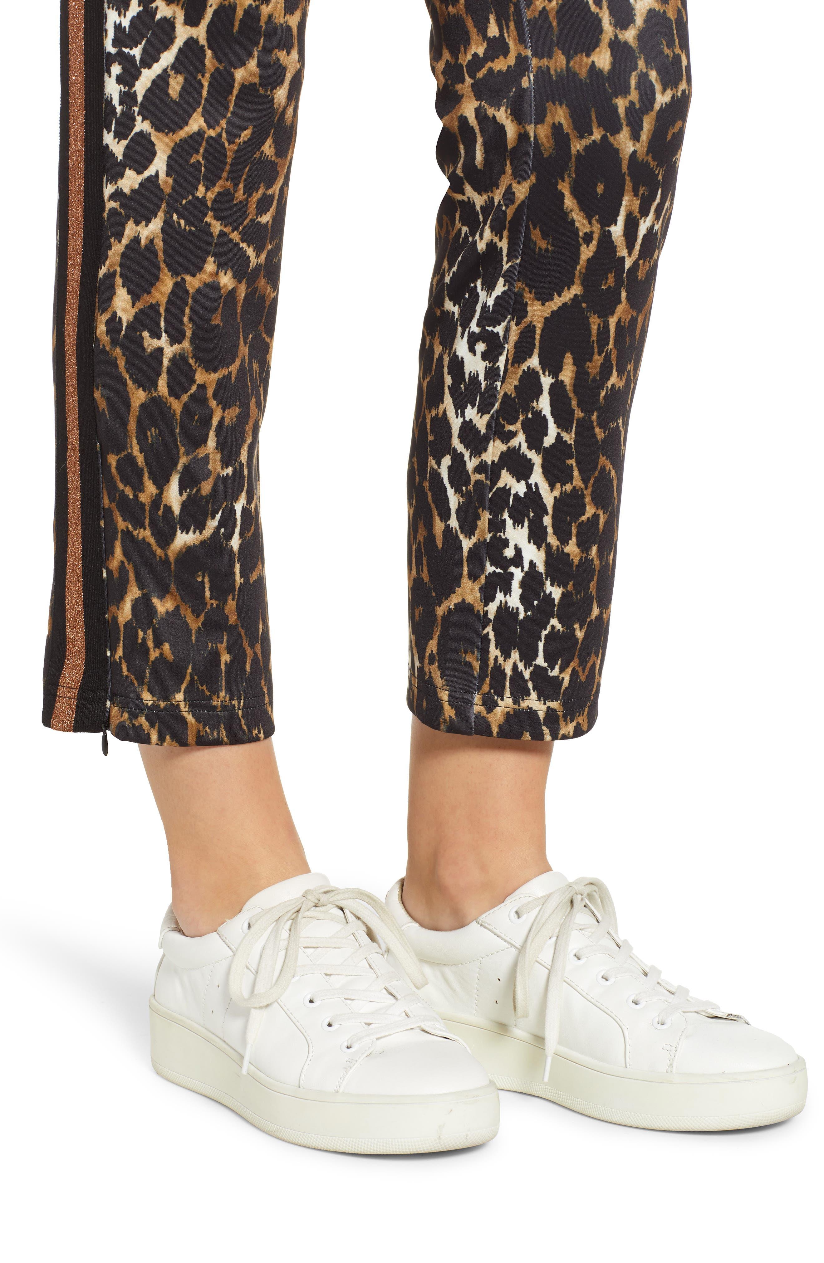 Leopard Track Pants,                             Alternate thumbnail 4, color,                             LEOPARD