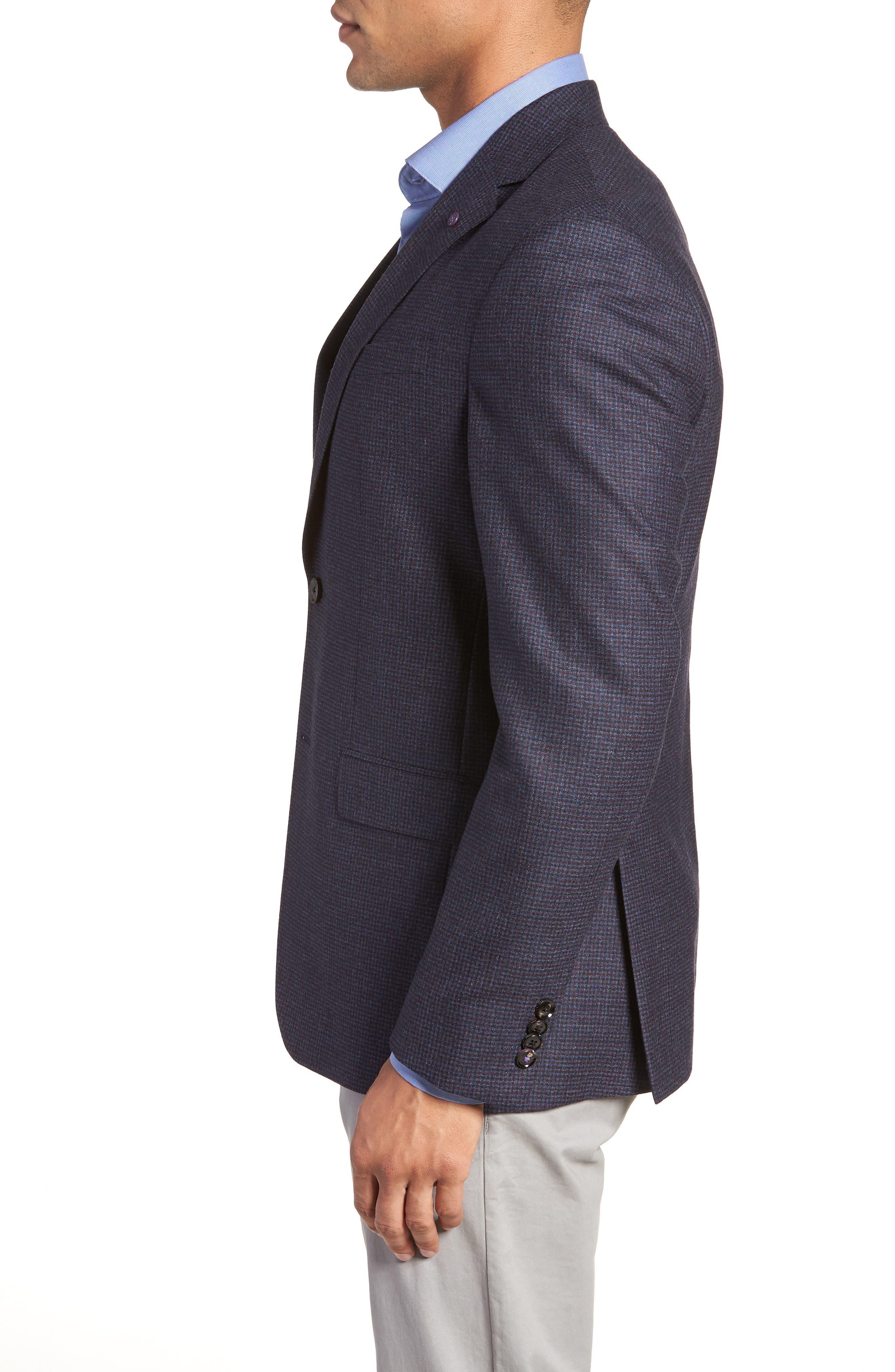 Konan Trim Fit Microcheck Wool Sport Coat,                             Alternate thumbnail 3, color,                             400