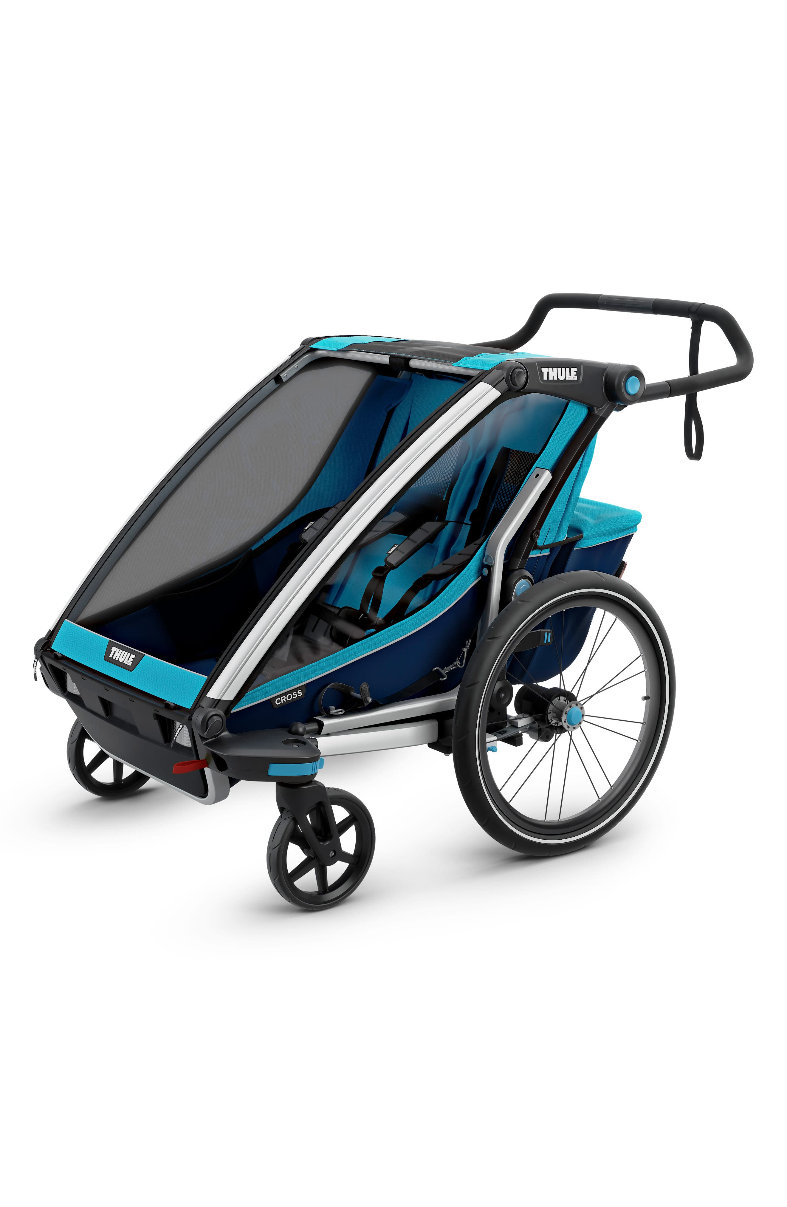 Chariot Cross 2 Multisport Double Cycle Trailer/Stroller,                             Alternate thumbnail 4, color,                             THULE BLUE