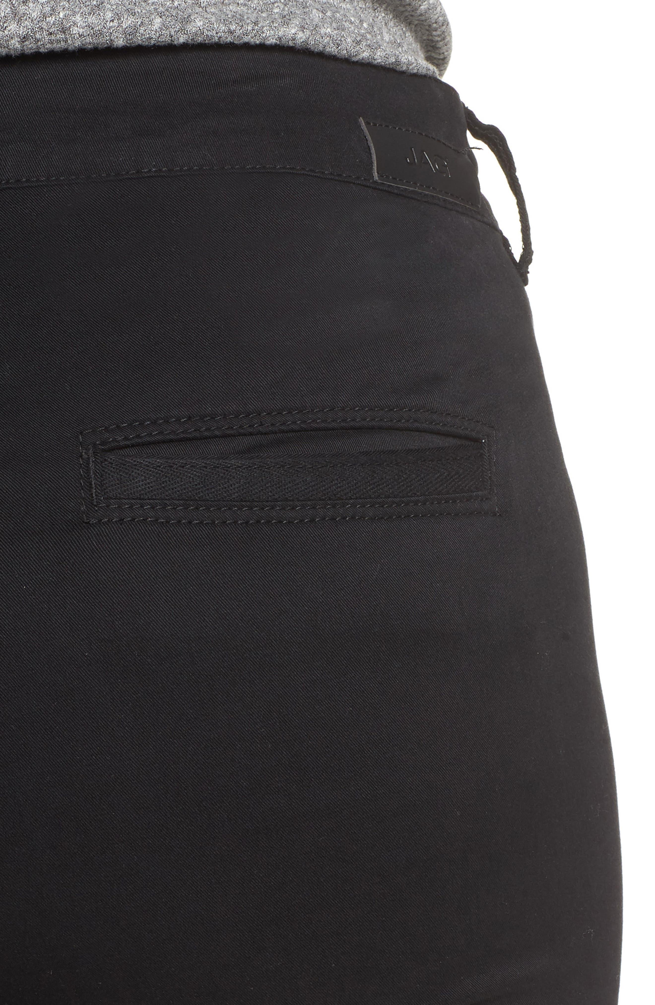 Flora Stretch Cotton Crop Pants,                             Alternate thumbnail 4, color,                             BLACK