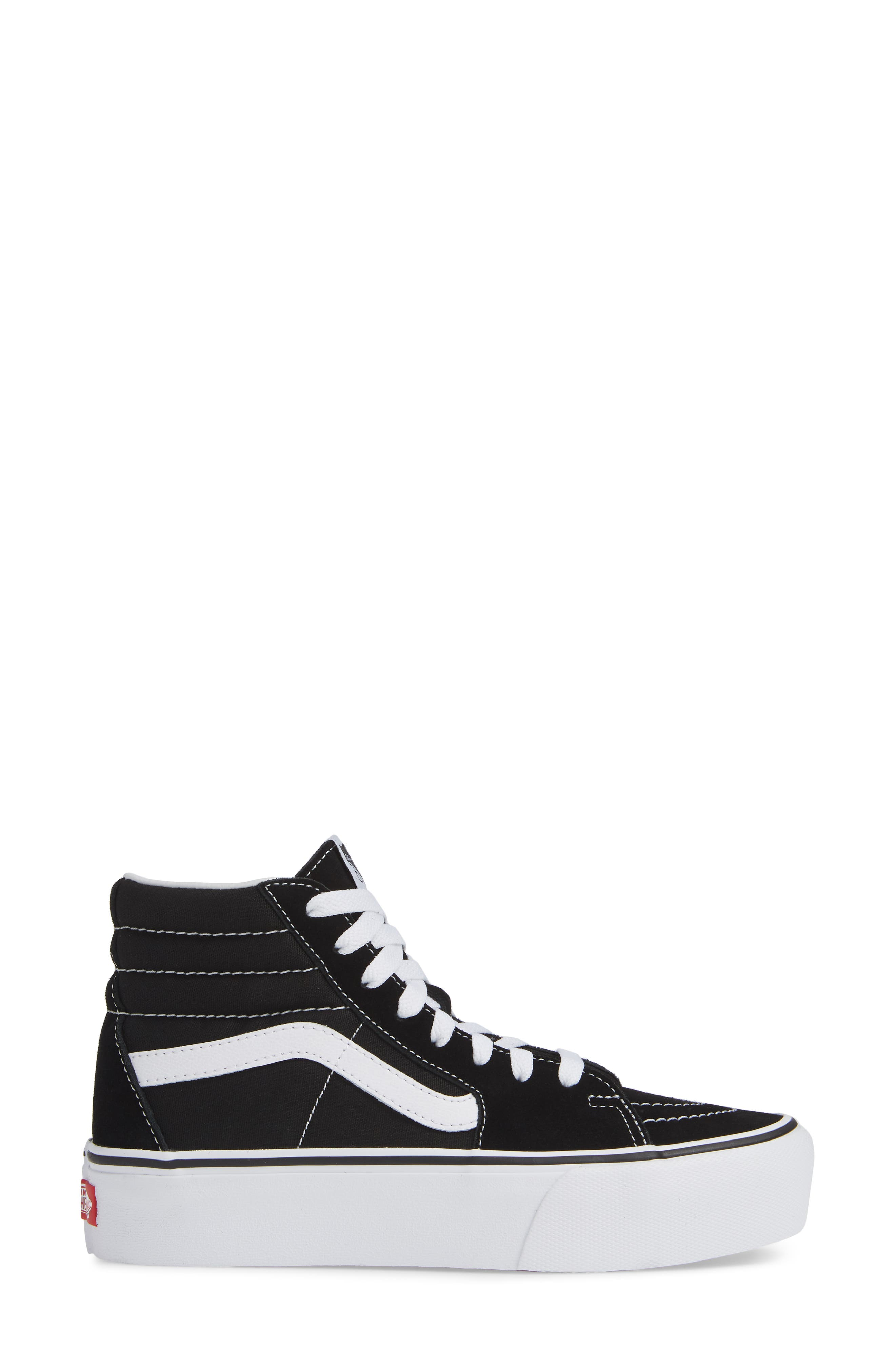 Sk8-Hi Platform Sneaker,                             Alternate thumbnail 3, color,                             BLACK/ TRUE WHITE