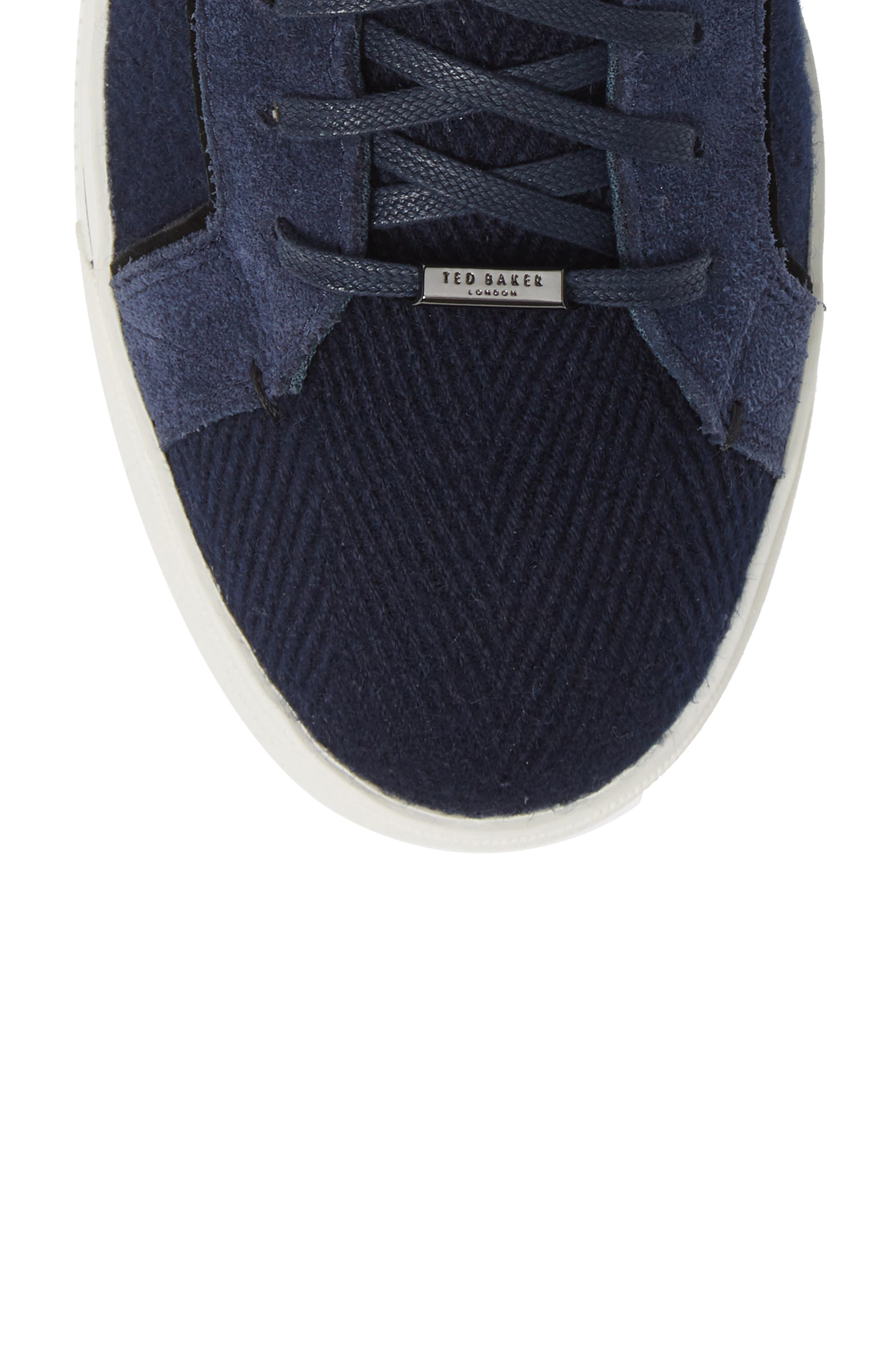 Luckan High Top Sneaker,                             Alternate thumbnail 5, color,                             DARK BLUE FABRIC