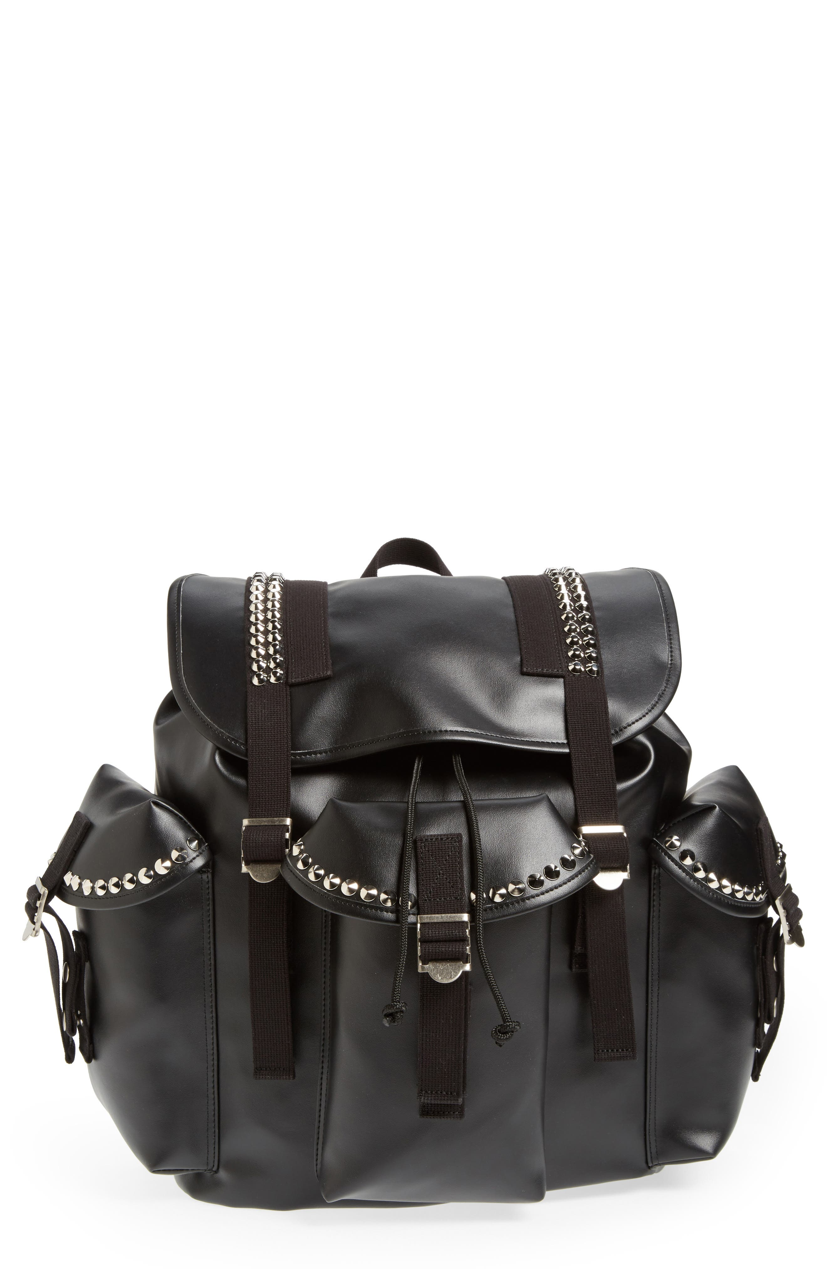 Studded Faux Leather Backpack,                             Main thumbnail 1, color,                             001