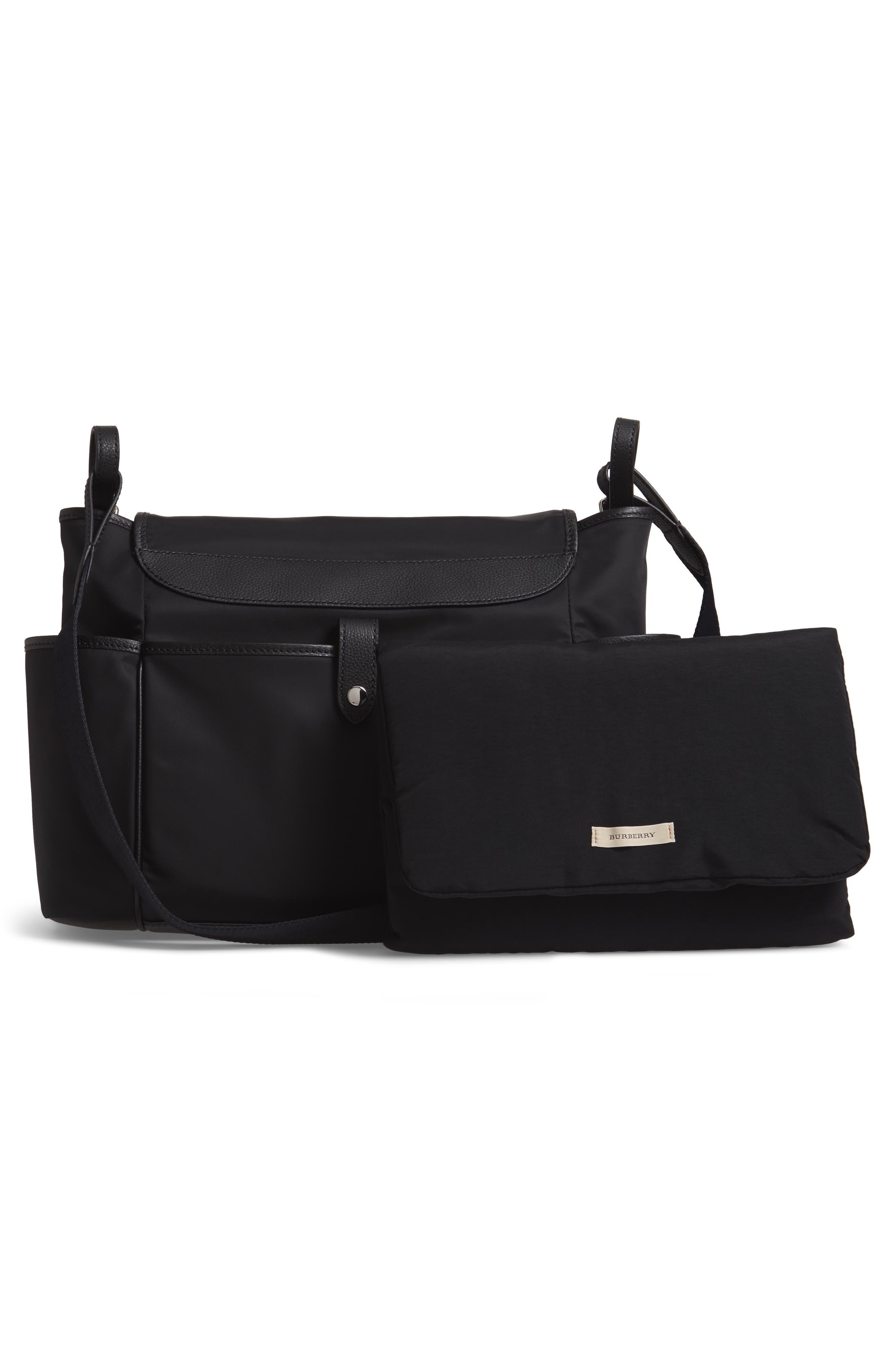 Flap Nylon Diaper Bag,                             Alternate thumbnail 3, color,                             BLACK