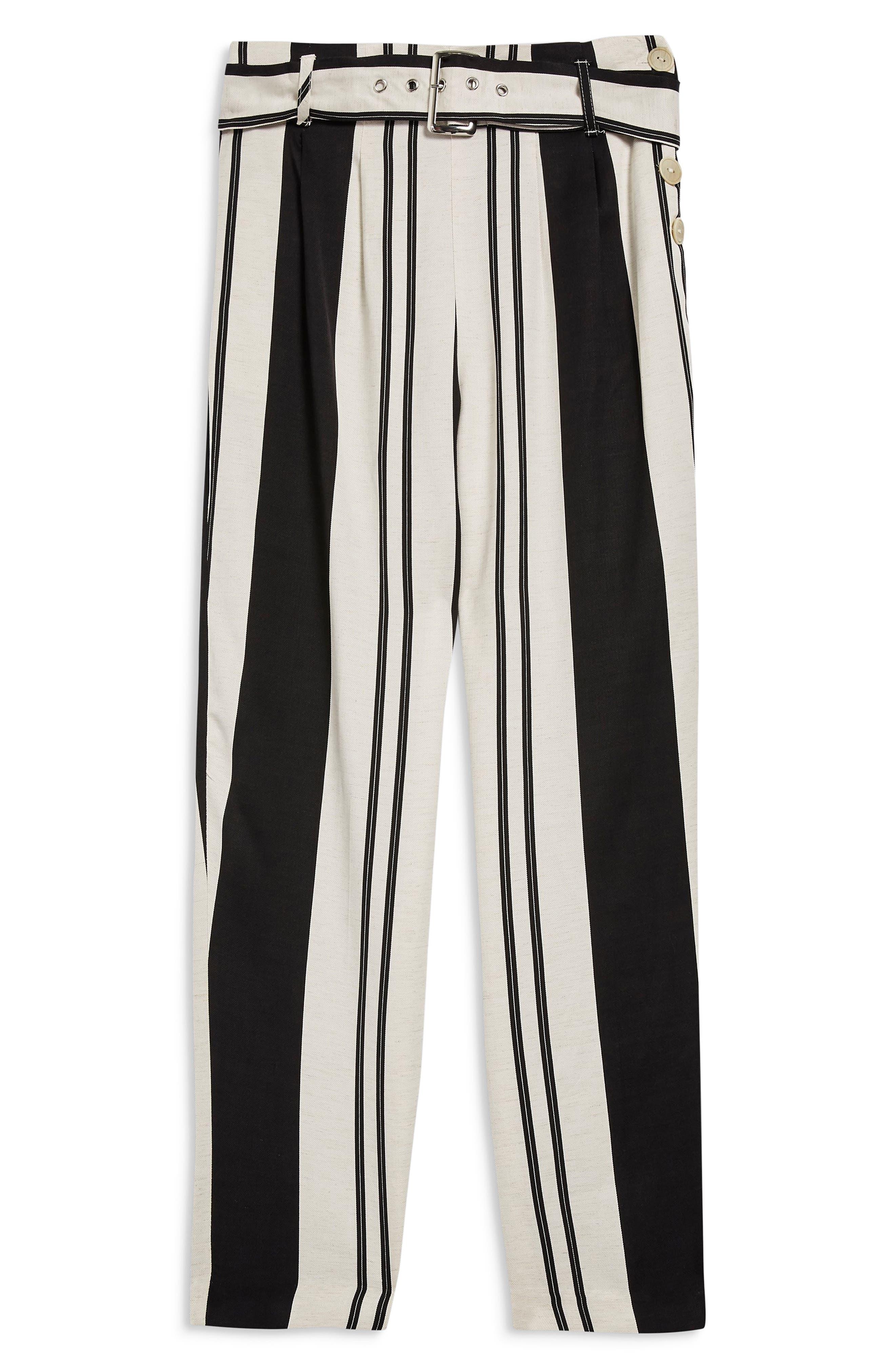 Dolly Stripe Tapered Trousers,                             Alternate thumbnail 5, color,                             BLACK MULTI