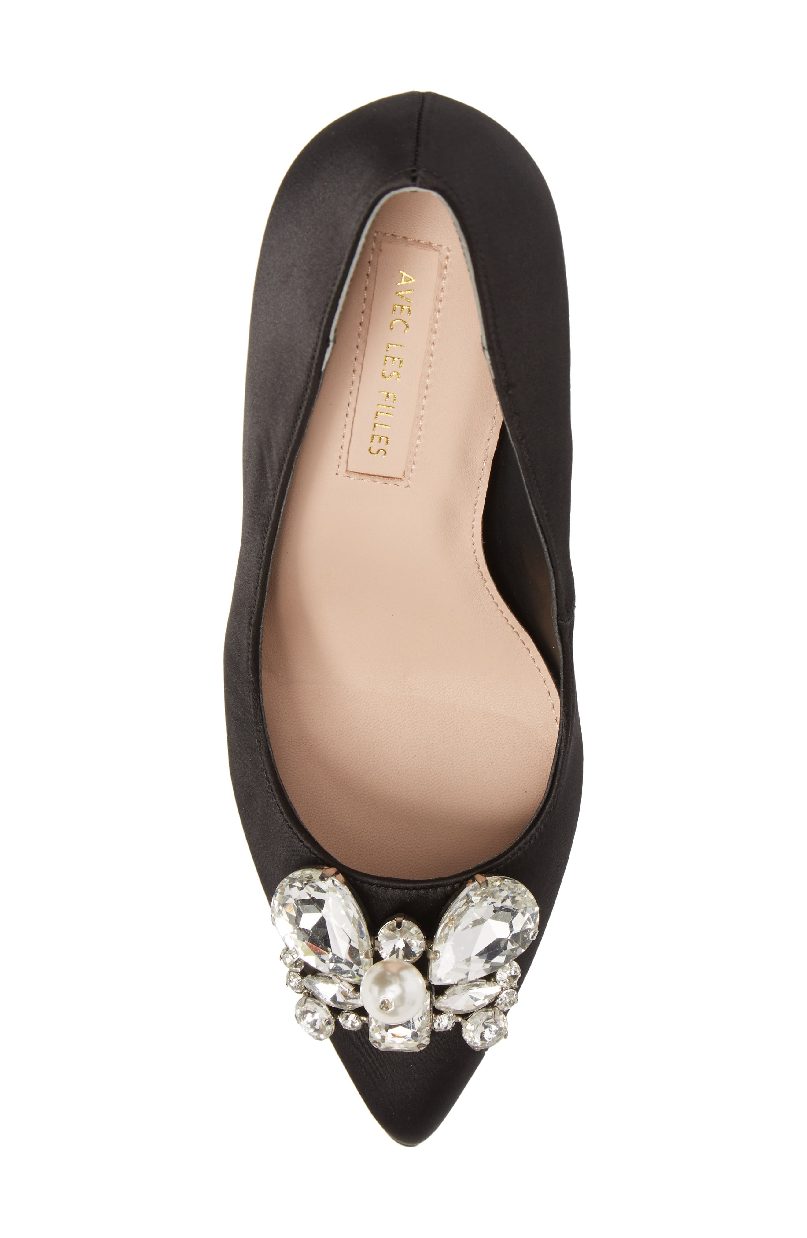 Chiara Embellished Pointy Toe Pump,                             Alternate thumbnail 5, color,                             001