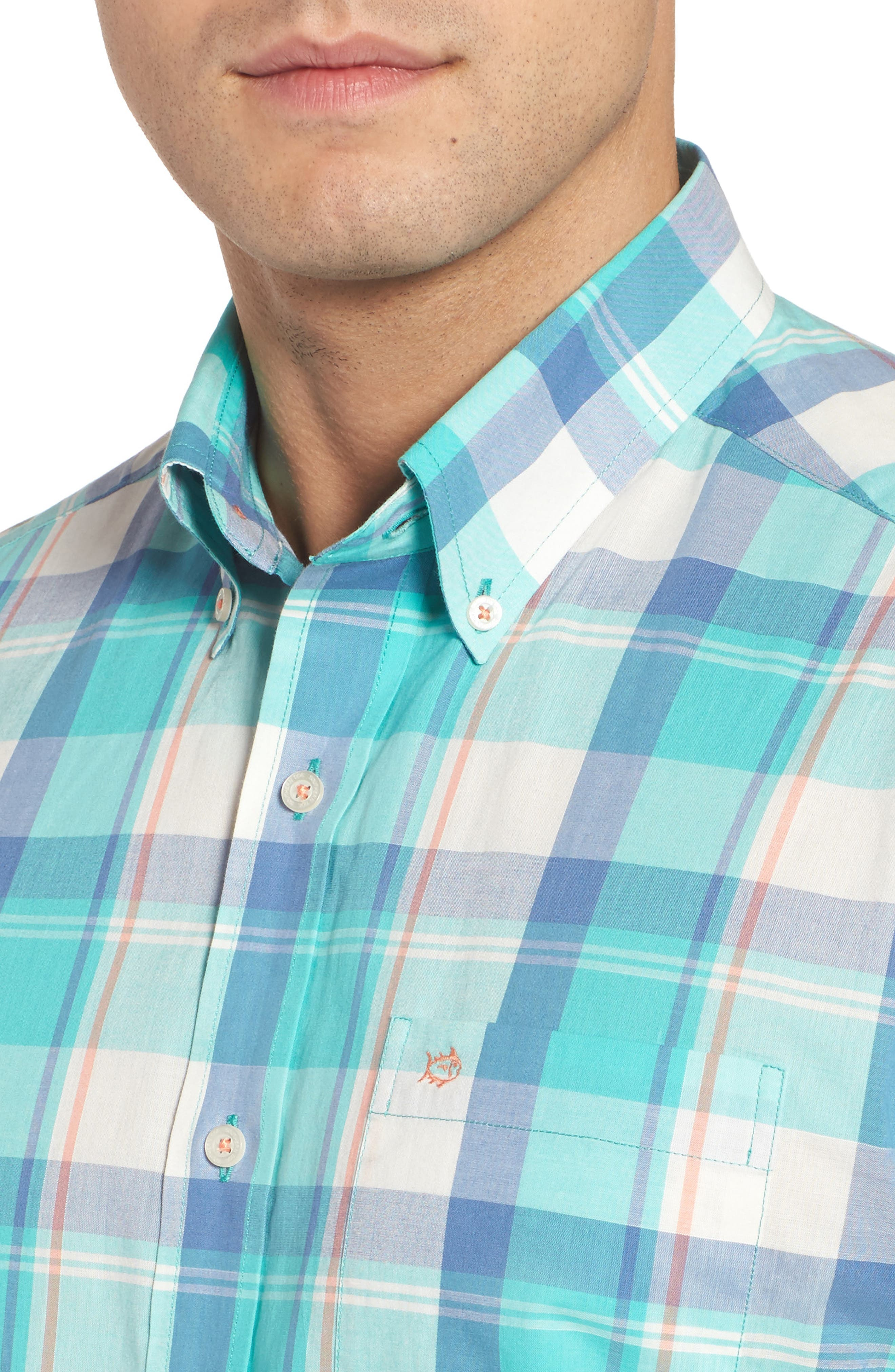 Green Cay Plaid Sport Shirt,                             Alternate thumbnail 4, color,