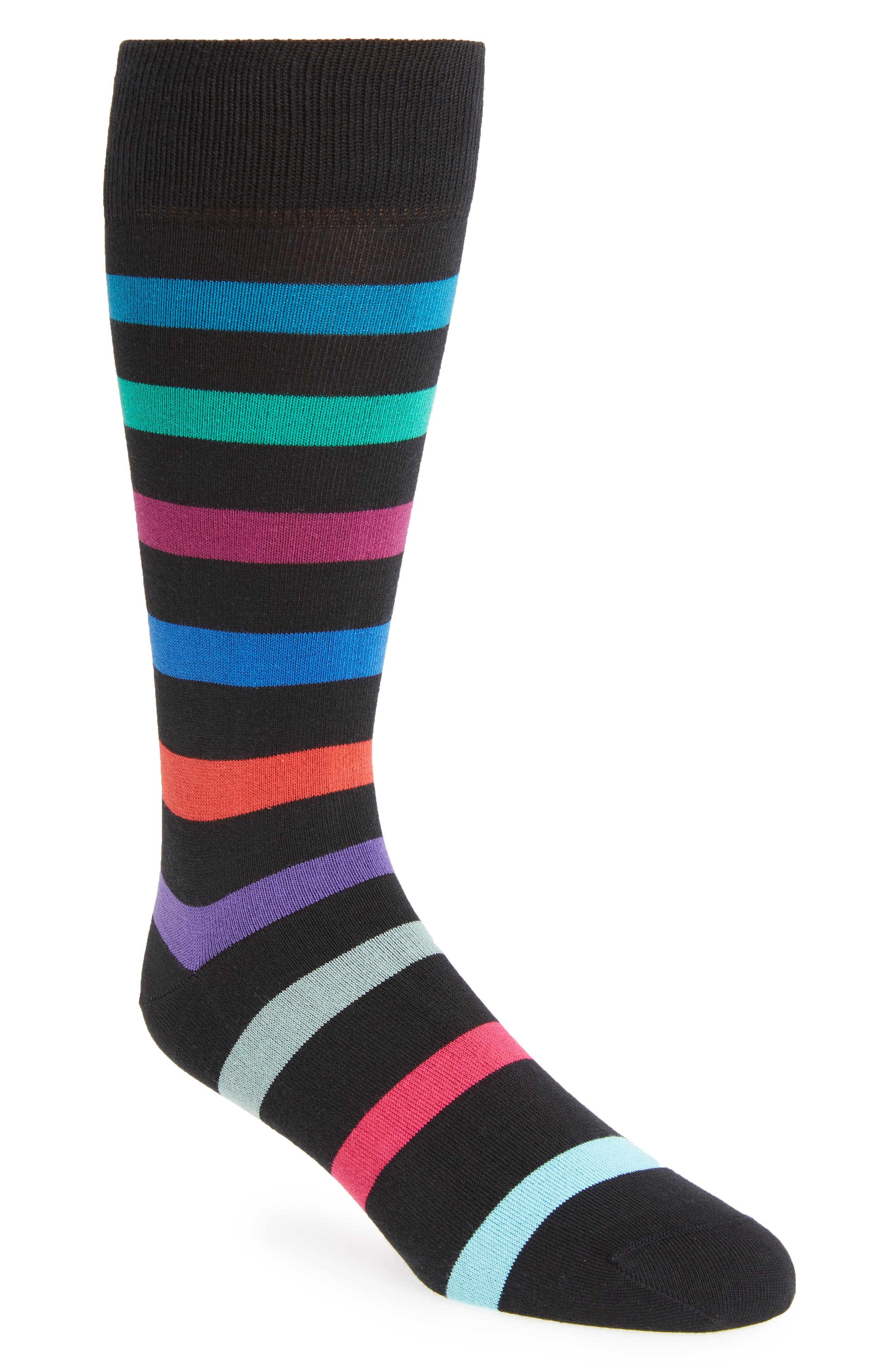 Look Stripe Socks,                         Main,                         color, BLACK