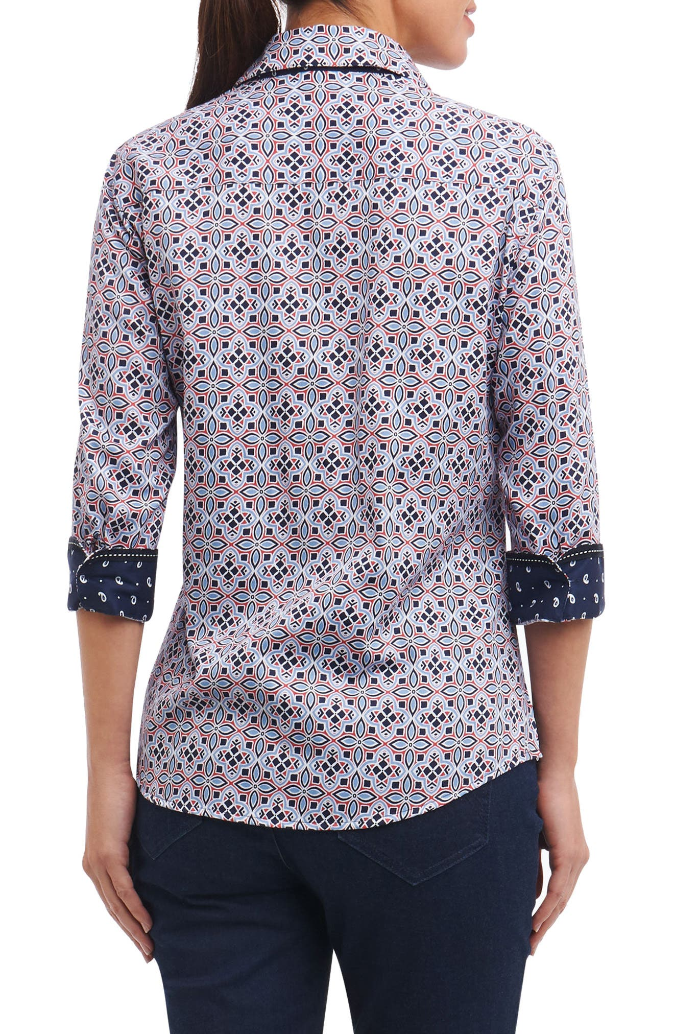 Ava Non-Iron Tile Print Cotton Shirt,                             Alternate thumbnail 3, color,