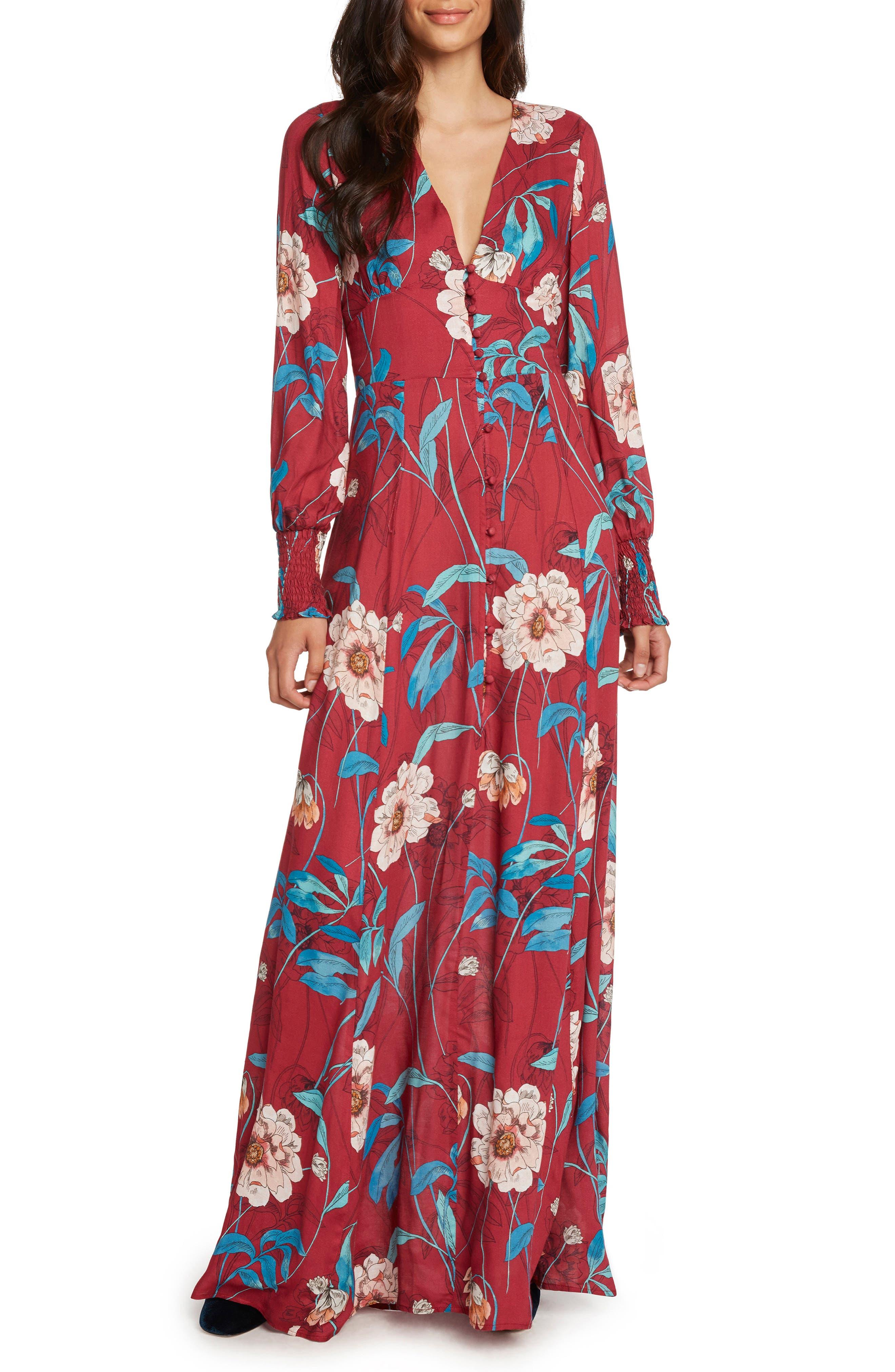 Print Maxi Dress,                         Main,                         color, MAGENTA
