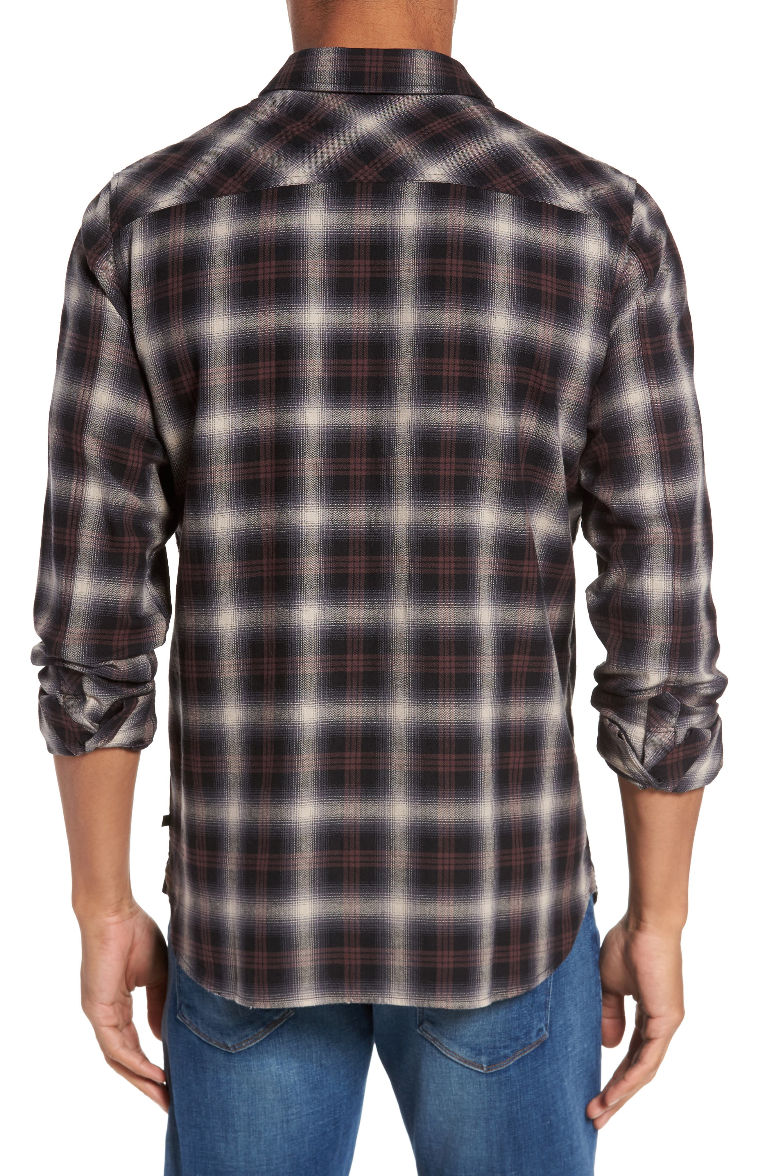 Colton Slim Fit Plaid Sport Shirt,                             Alternate thumbnail 4, color,