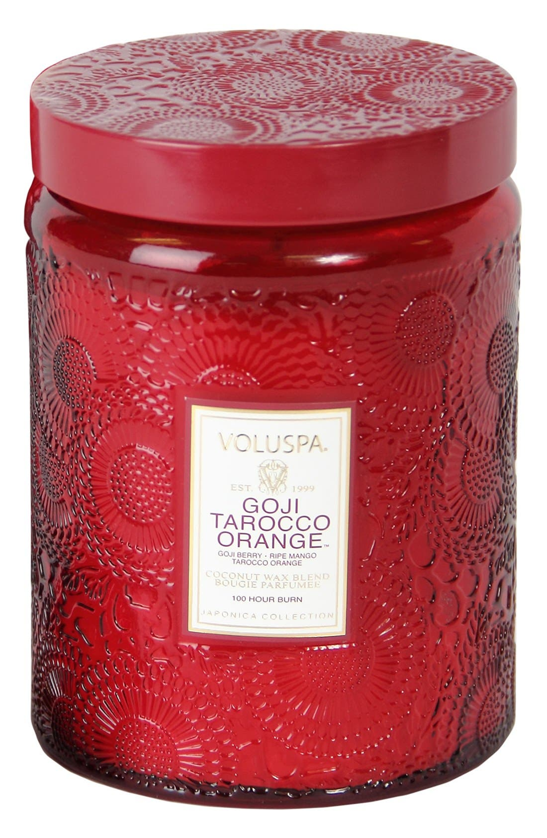 'Japonica - Goji Tarocco Orange' Large Embossed Jar Candle,                             Main thumbnail 1, color,                             000
