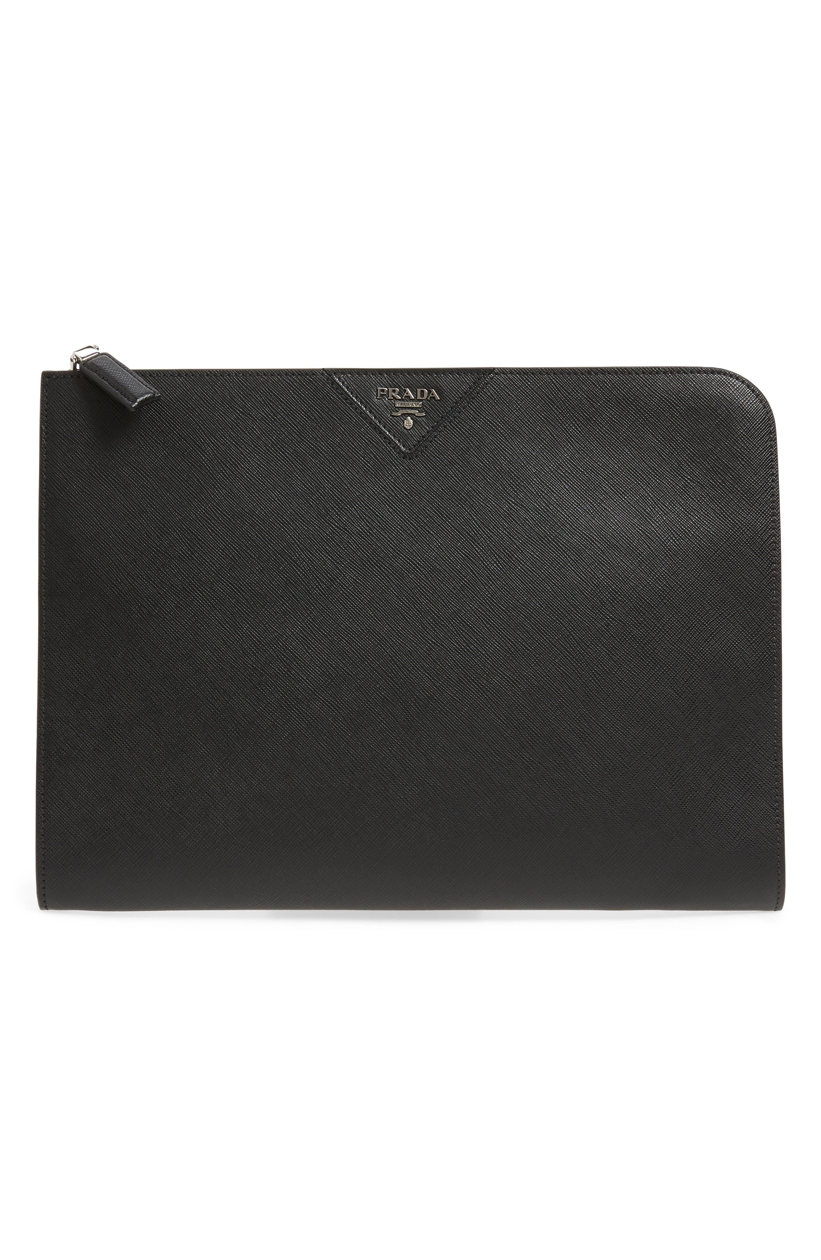 Saffiano Leather Zip Folio,                             Main thumbnail 1, color,                             BLACK