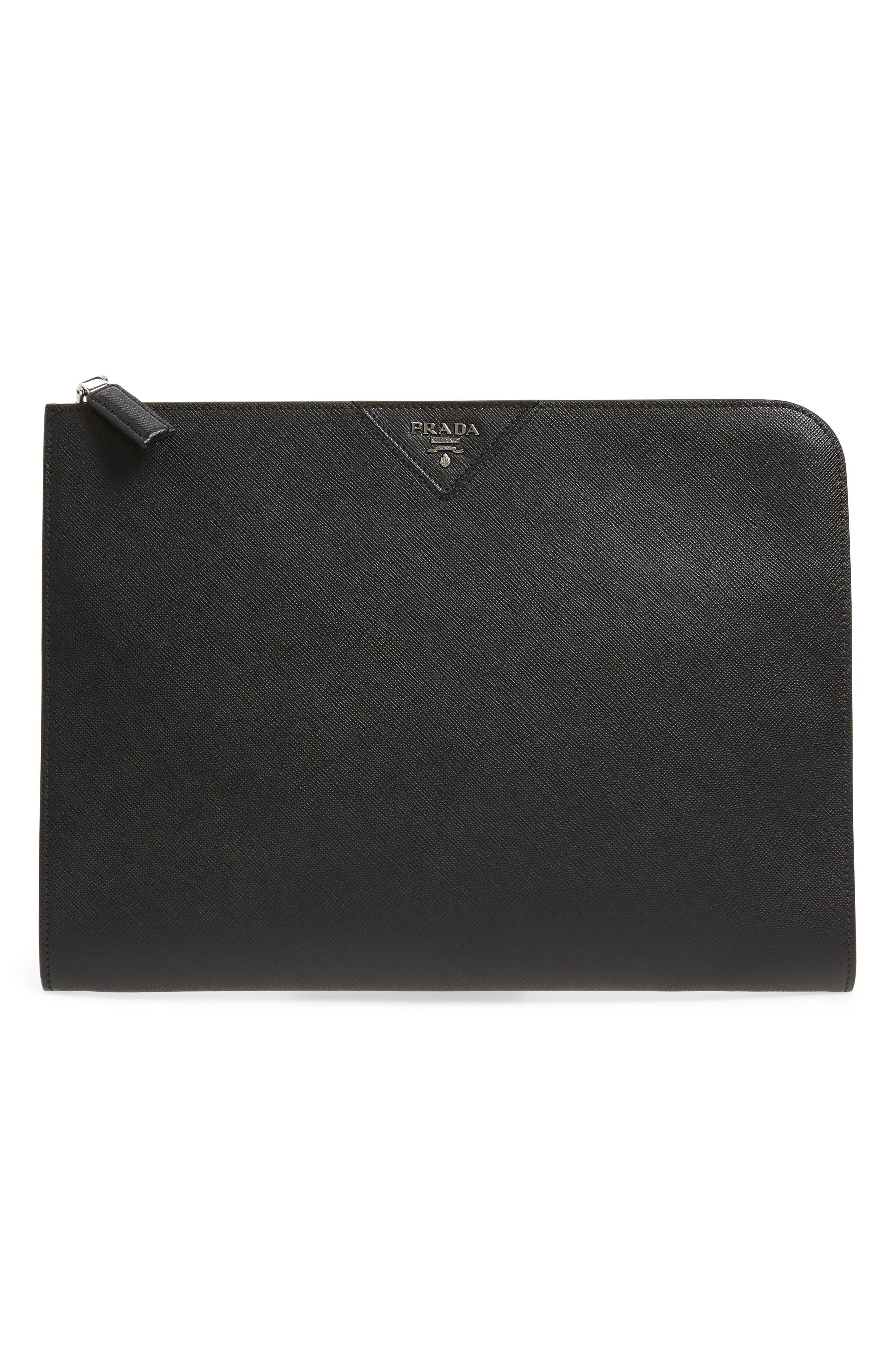 Saffiano Leather Zip Folio,                         Main,                         color, BLACK