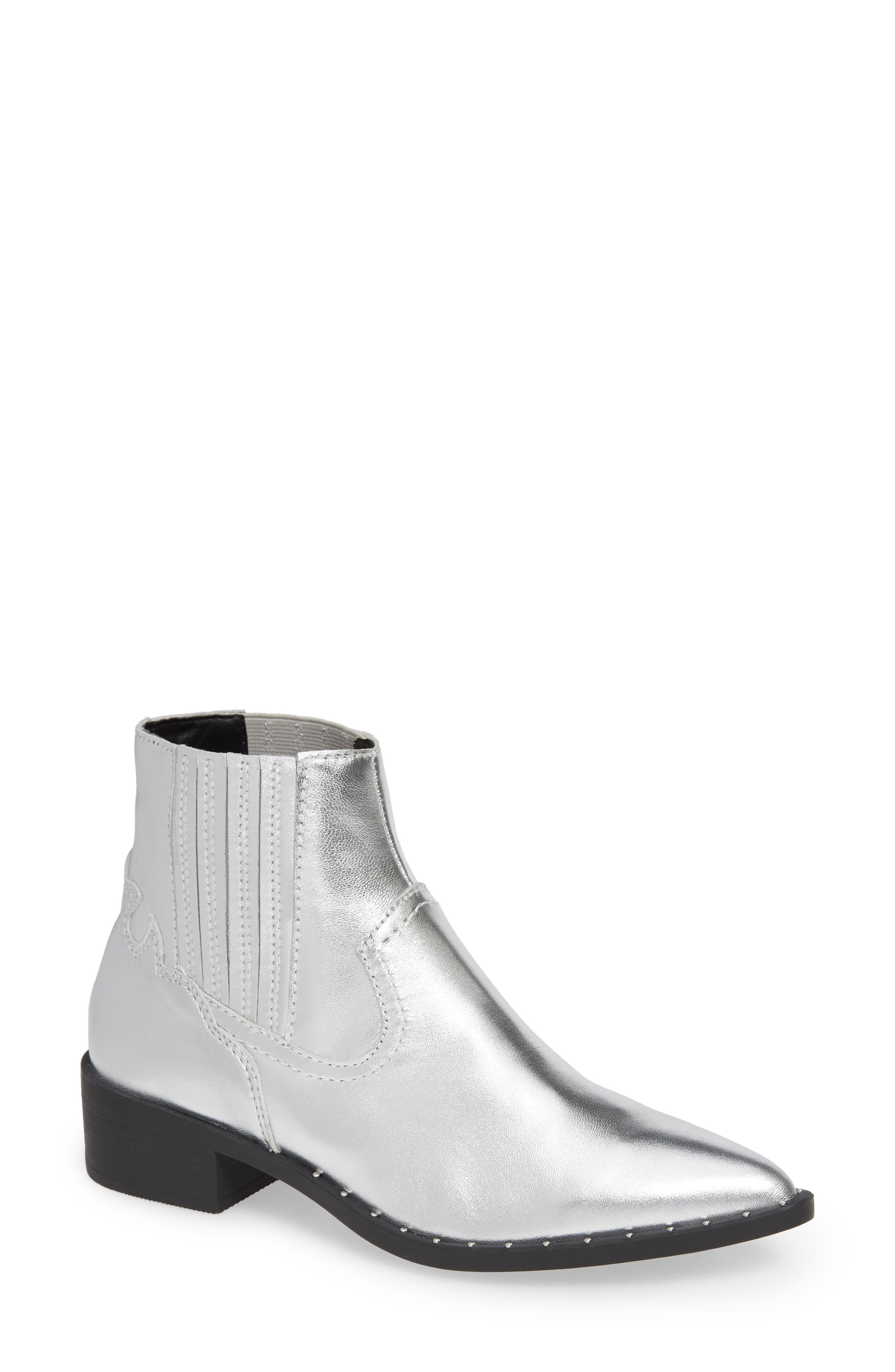 Juke Bootie,                             Main thumbnail 1, color,                             SILVER LEATHER