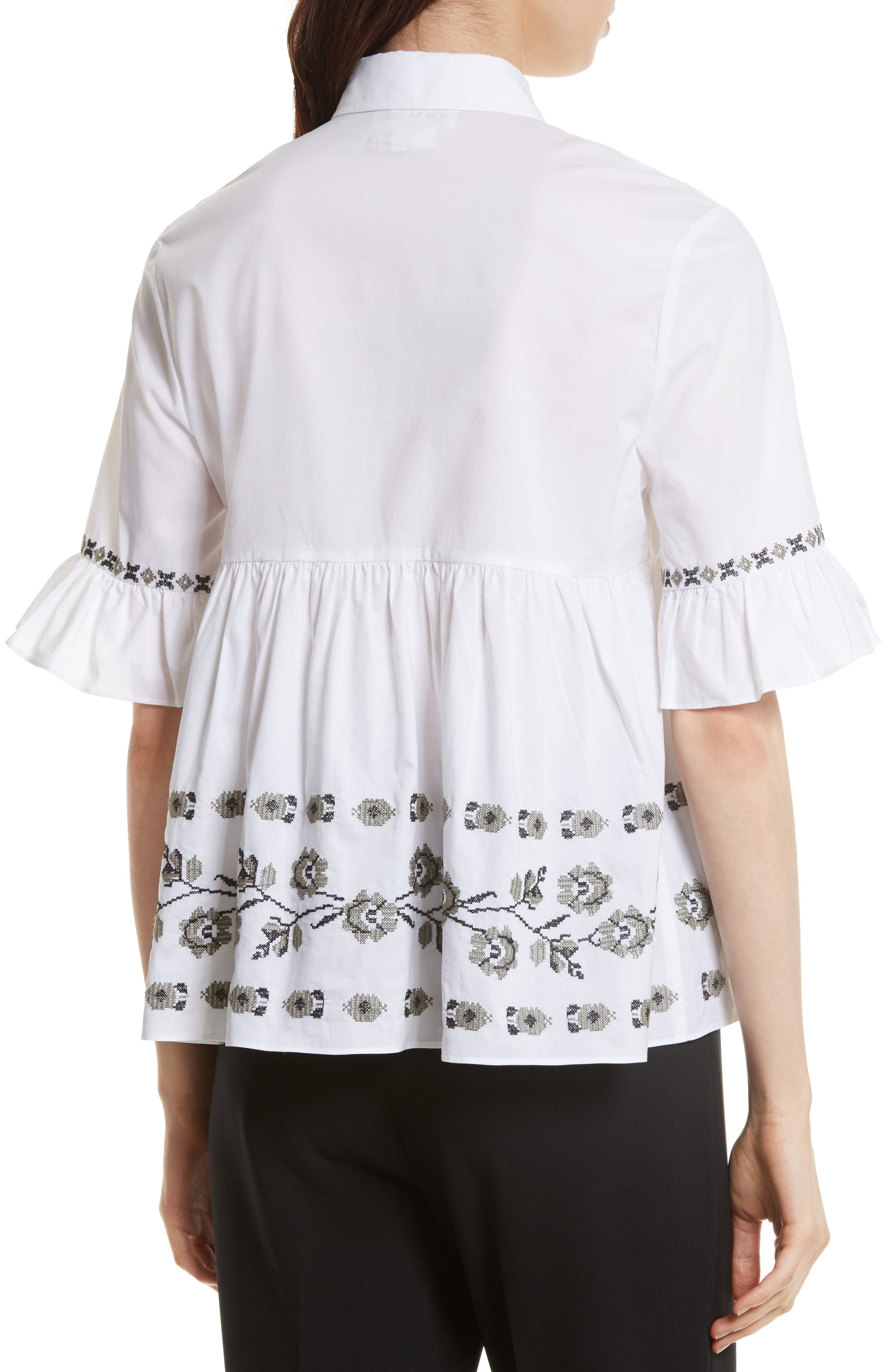 embroidered ruffle shirt,                             Alternate thumbnail 2, color,                             107