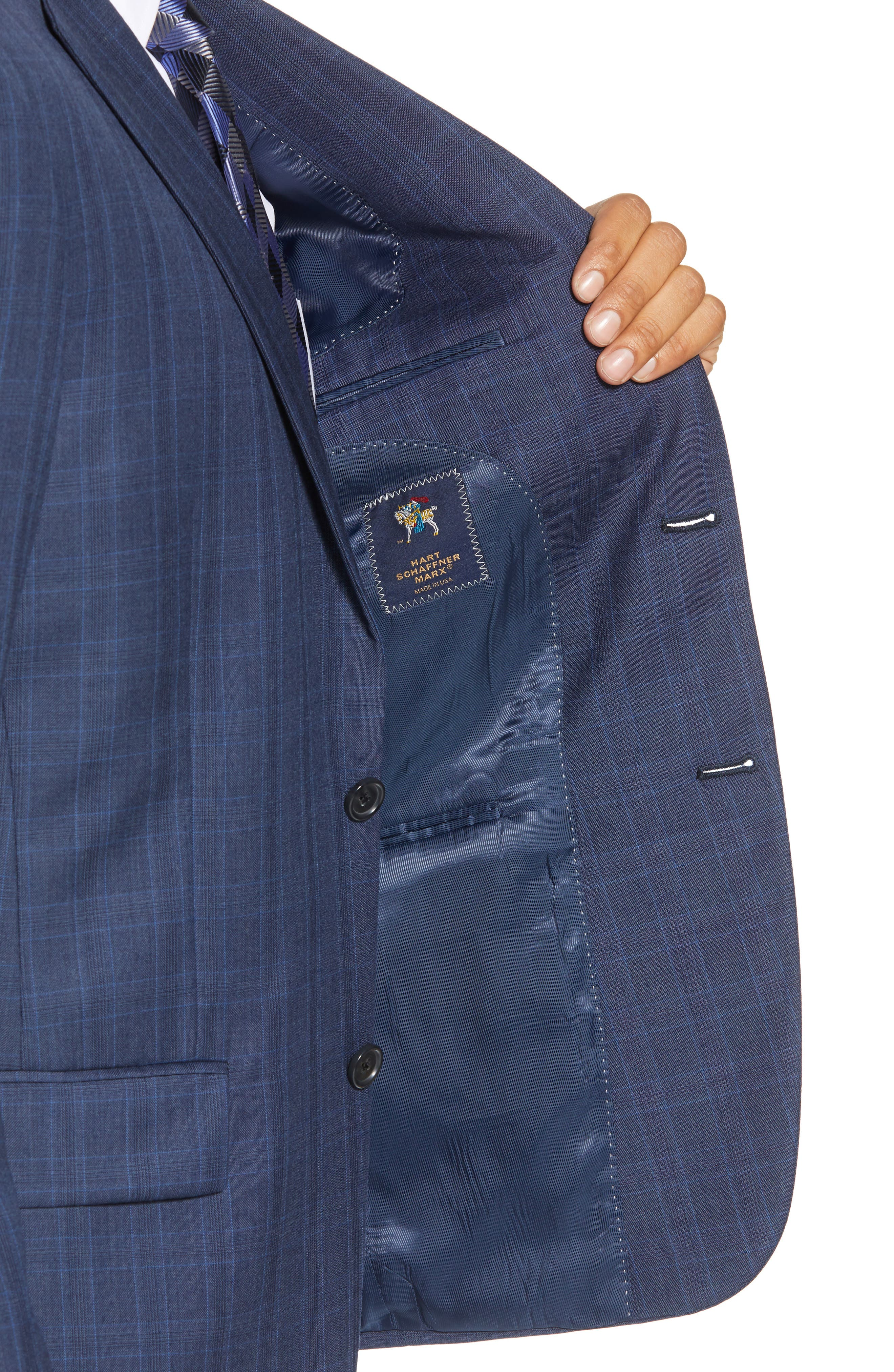 New York Classic Fit Plaid Wool Suit,                             Alternate thumbnail 4, color,                             MED BLUE